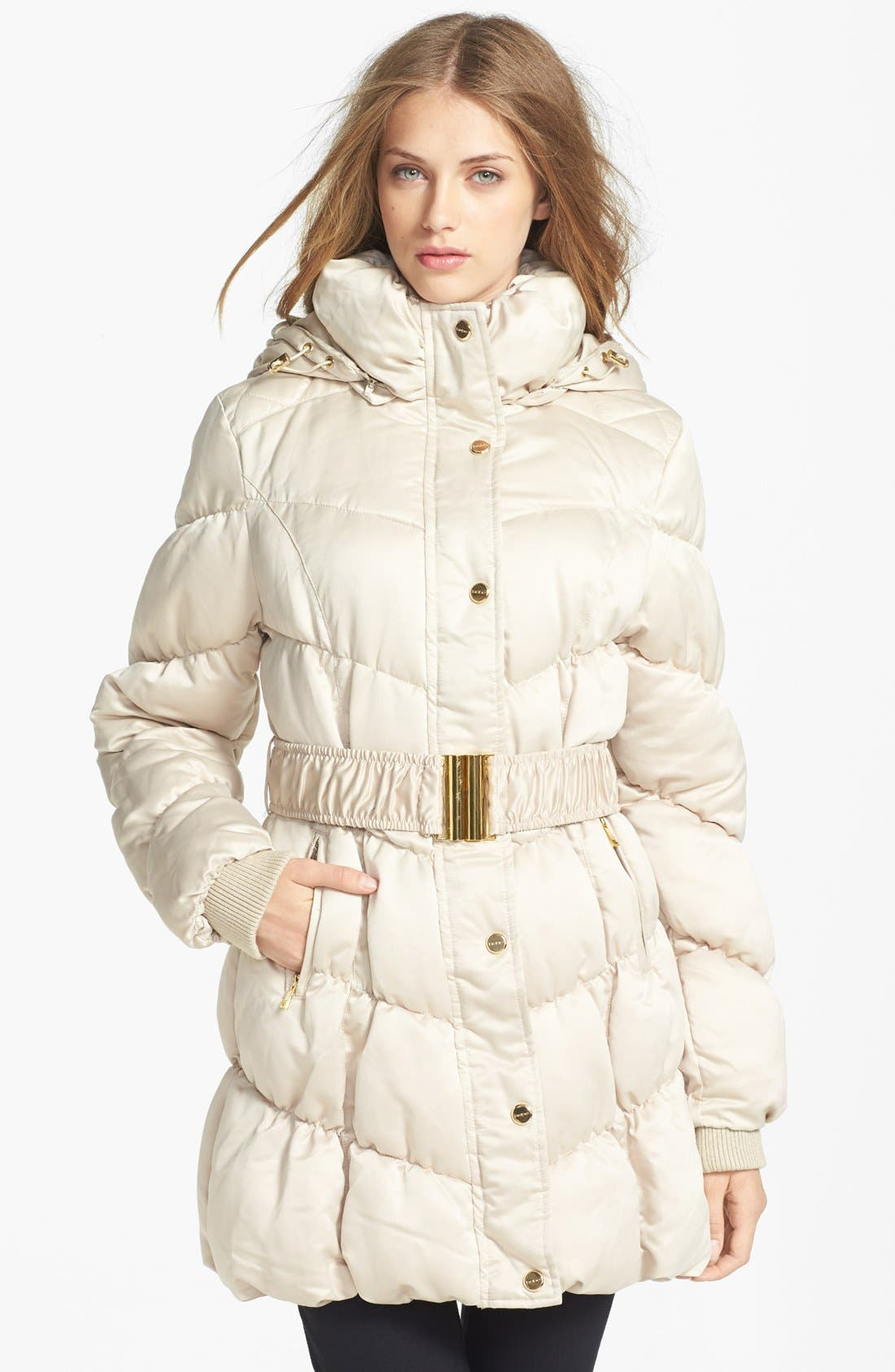 Main Image - bebe Belted Quilted Coat