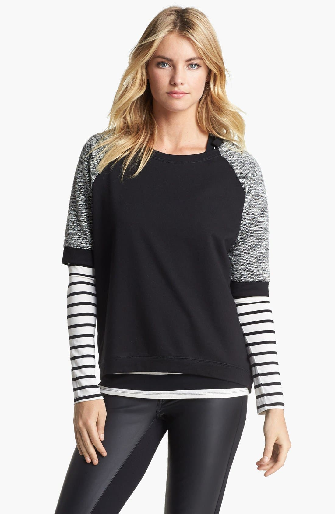 Alternate Image 3  - Two by Vince Camuto Terry & Slub Short Sleeve Top