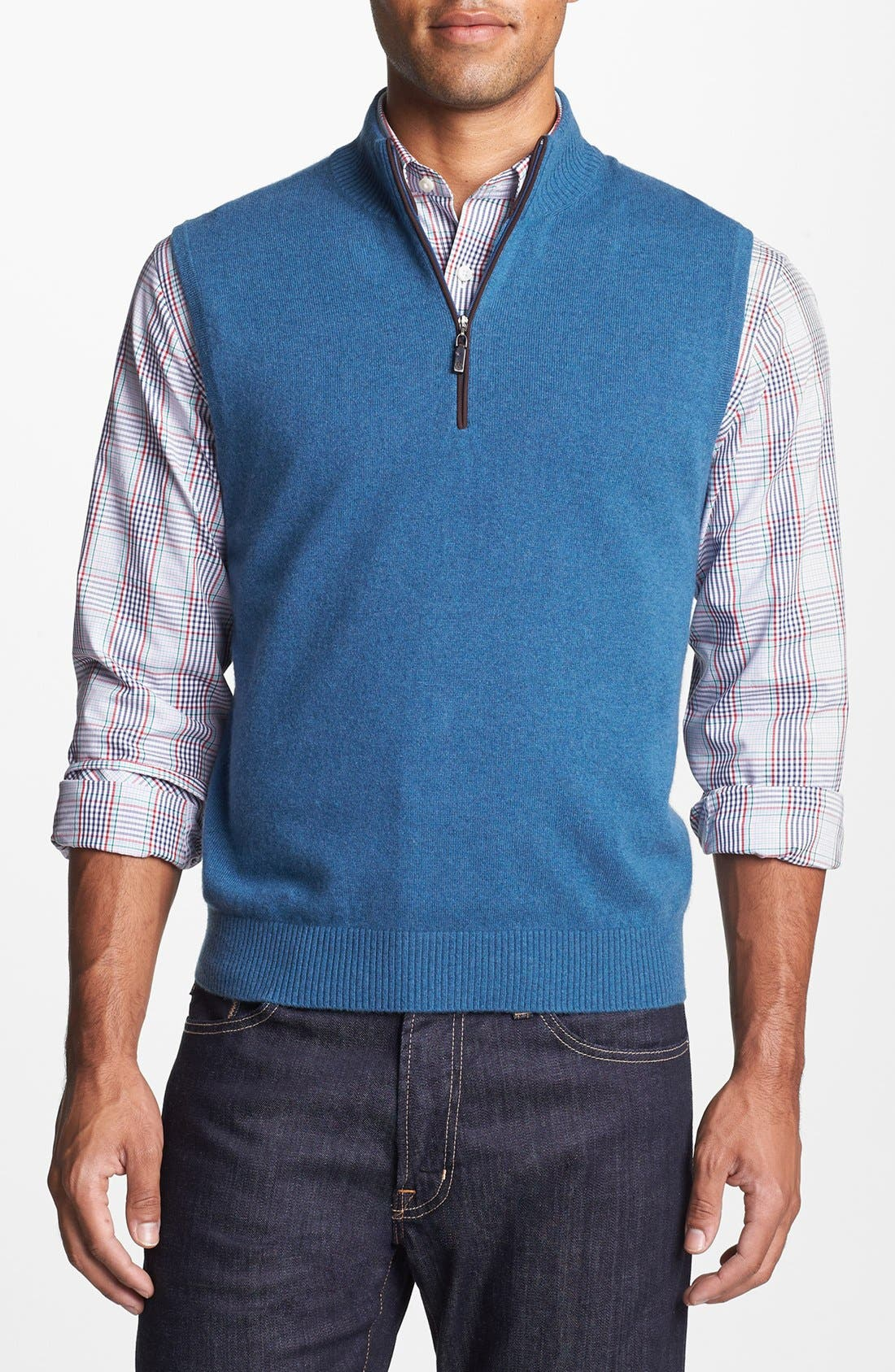 Main Image - Robert Talbott Quarter Zip Cashmere Vest
