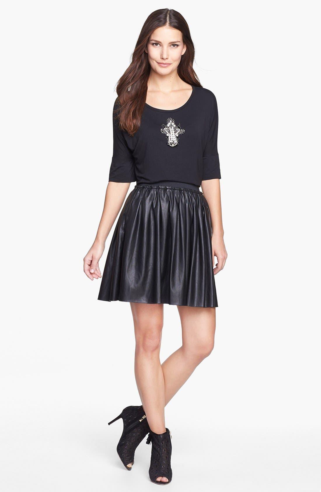 Alternate Image 4  - Pink Tartan 'Moss' Faux Leather Skirt