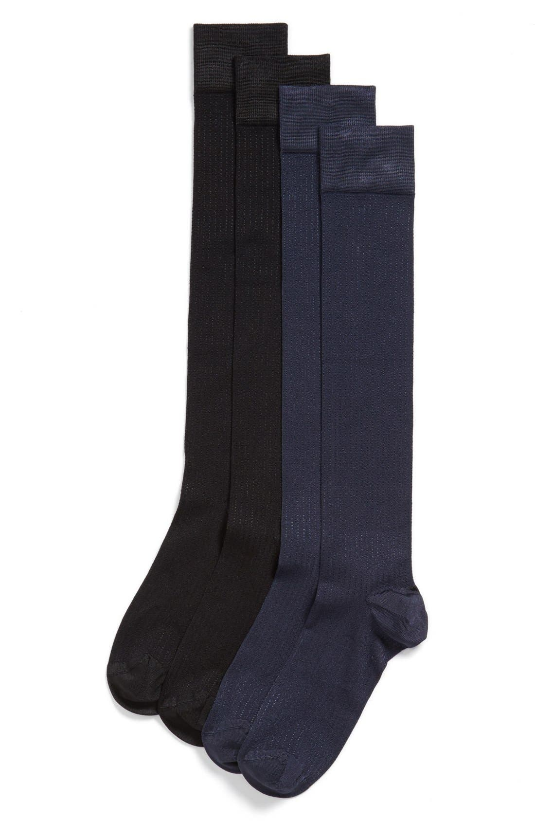Alternate Image 1 Selected - Ralph Lauren 'Vertical Shine' Knee High Socks