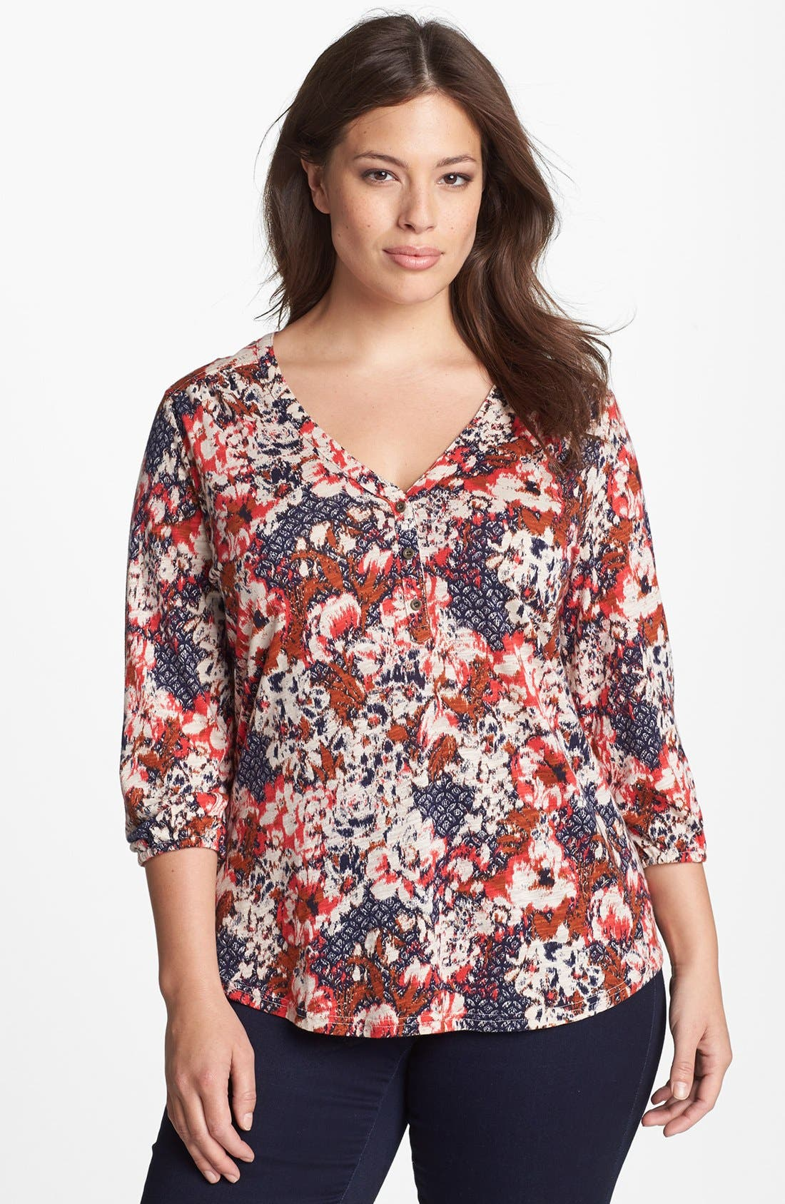 Main Image - Lucky Brand 'Cambria' Floral Print Cotton Blend Top (Plus Size)
