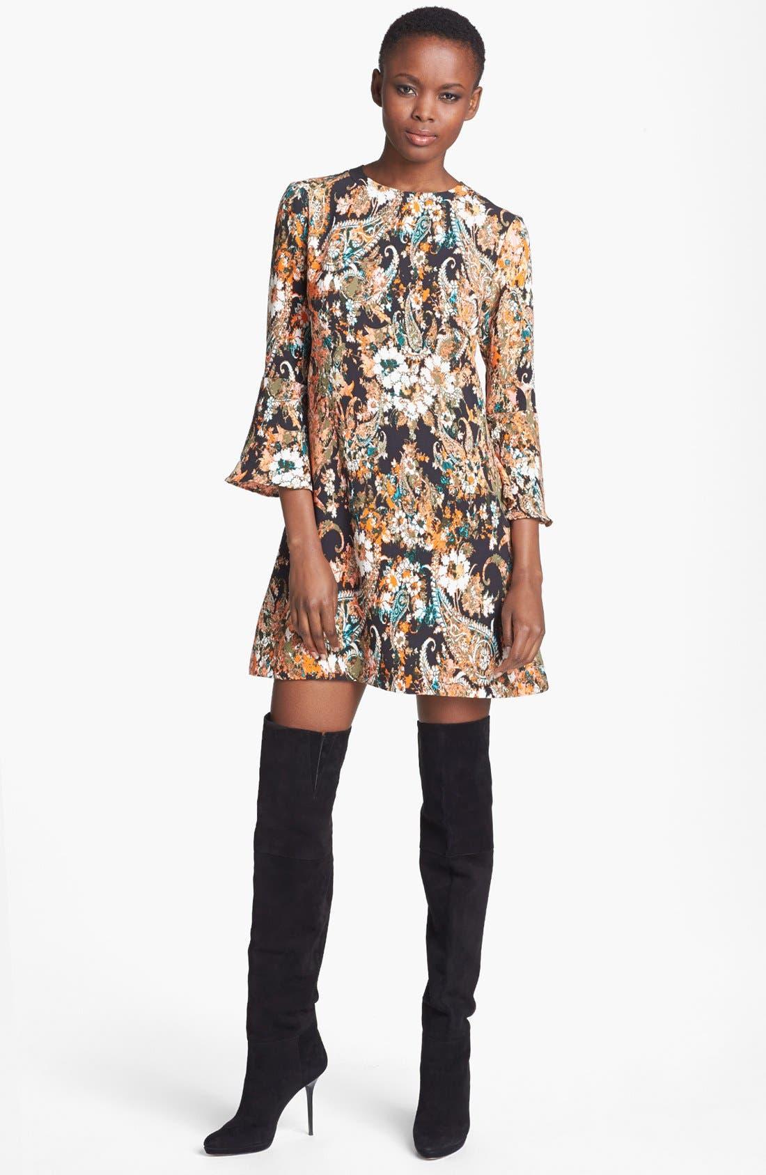 Alternate Image 1 Selected - WAYF Print Flare Sleeve Shift Dress