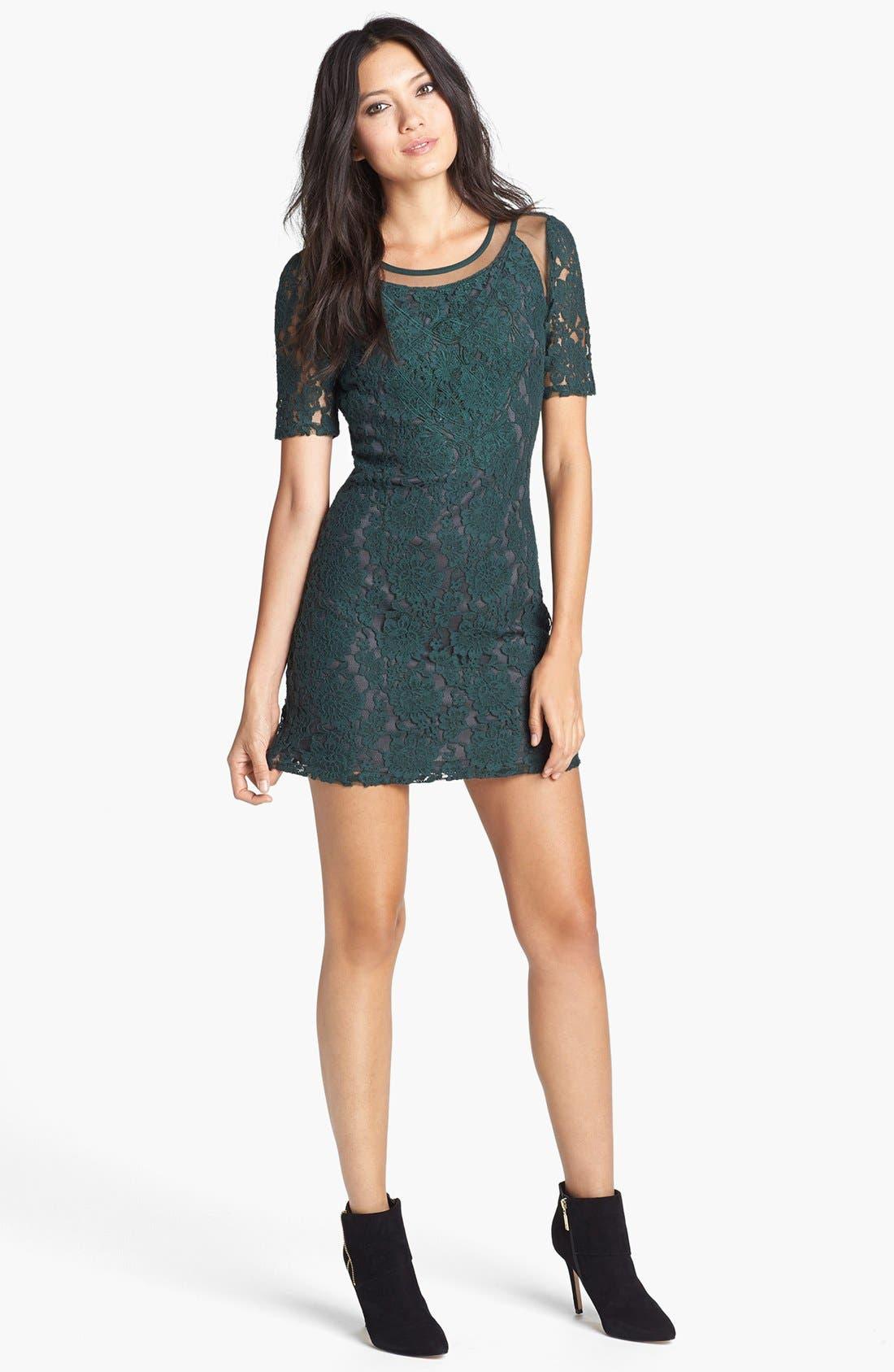 Main Image - ASTR Mesh Inset Lace Dress