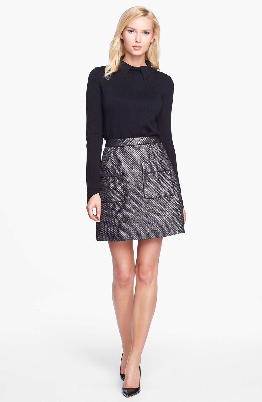 Alternate Image 3  - Pink Tartan Metallic Jacquard Skirt