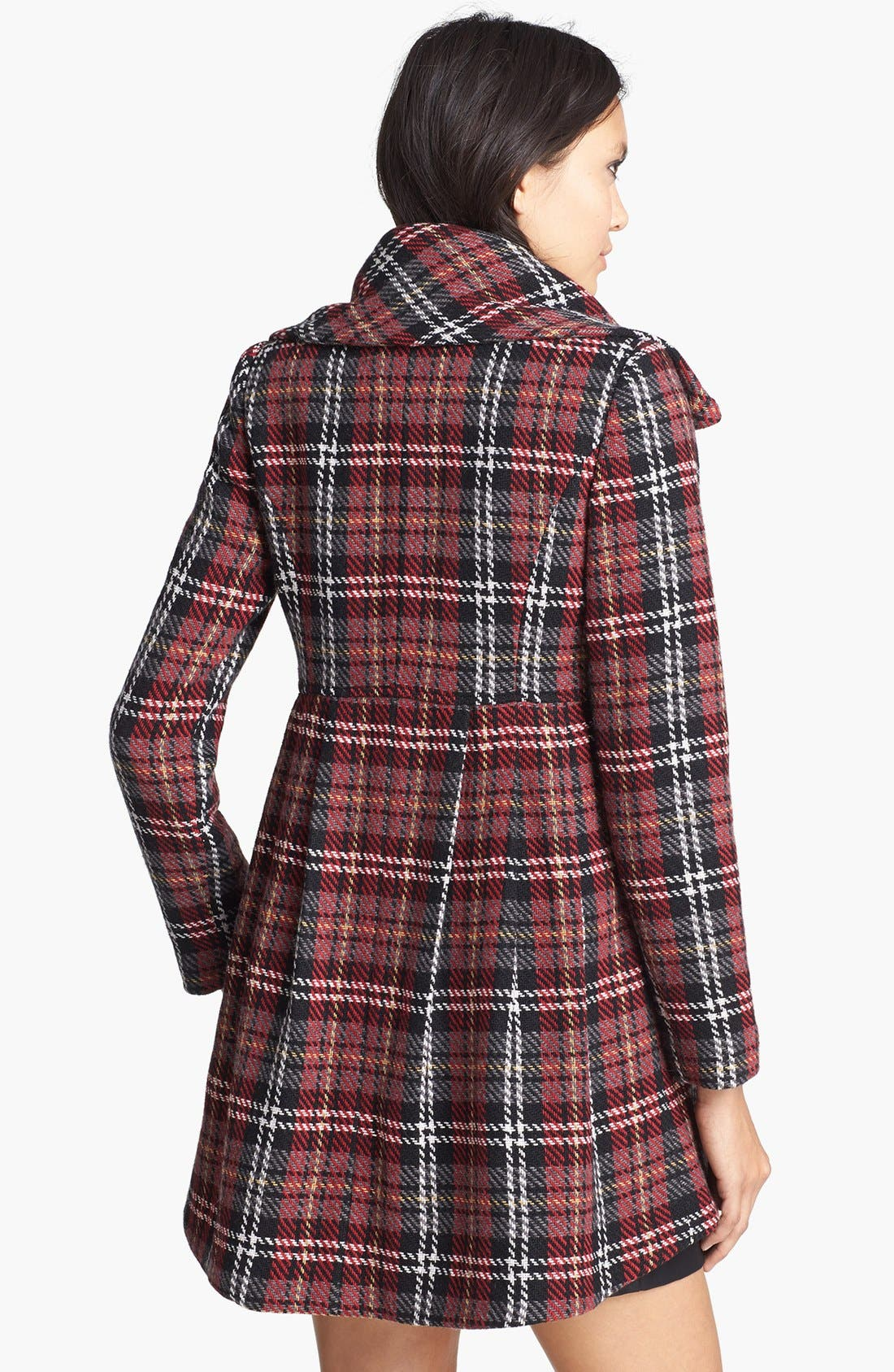 Alternate Image 2  - Mural Plaid Babydoll Coat