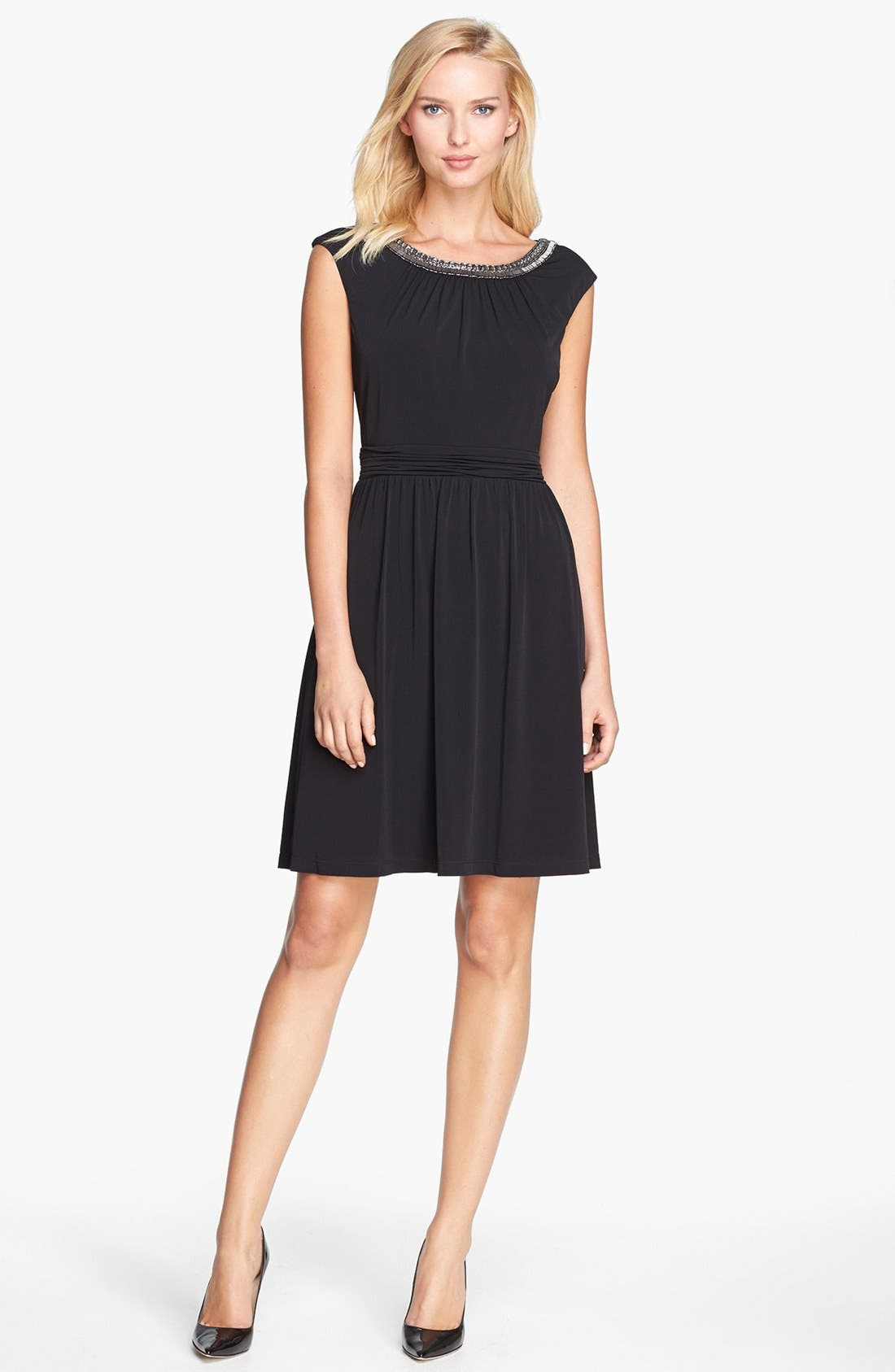 Alternate Image 2  - Ellen Tracy Embellished Lace Back Crepe Dress