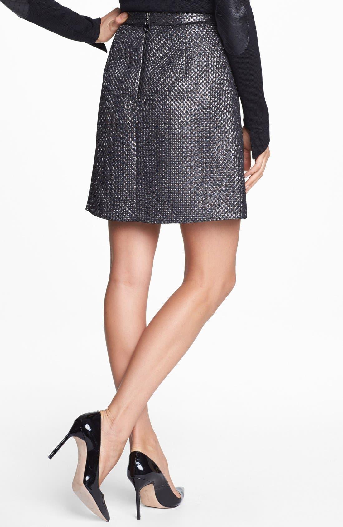 Alternate Image 2  - Pink Tartan Metallic Jacquard Skirt