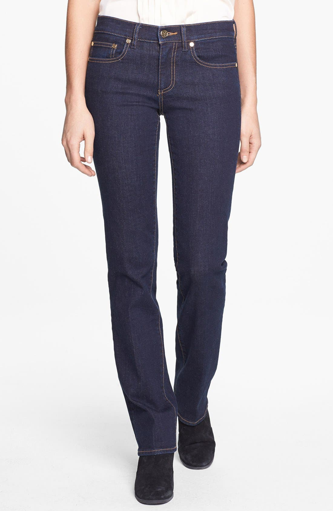 Main Image - Tory Burch Stretch Straight Leg Jeans