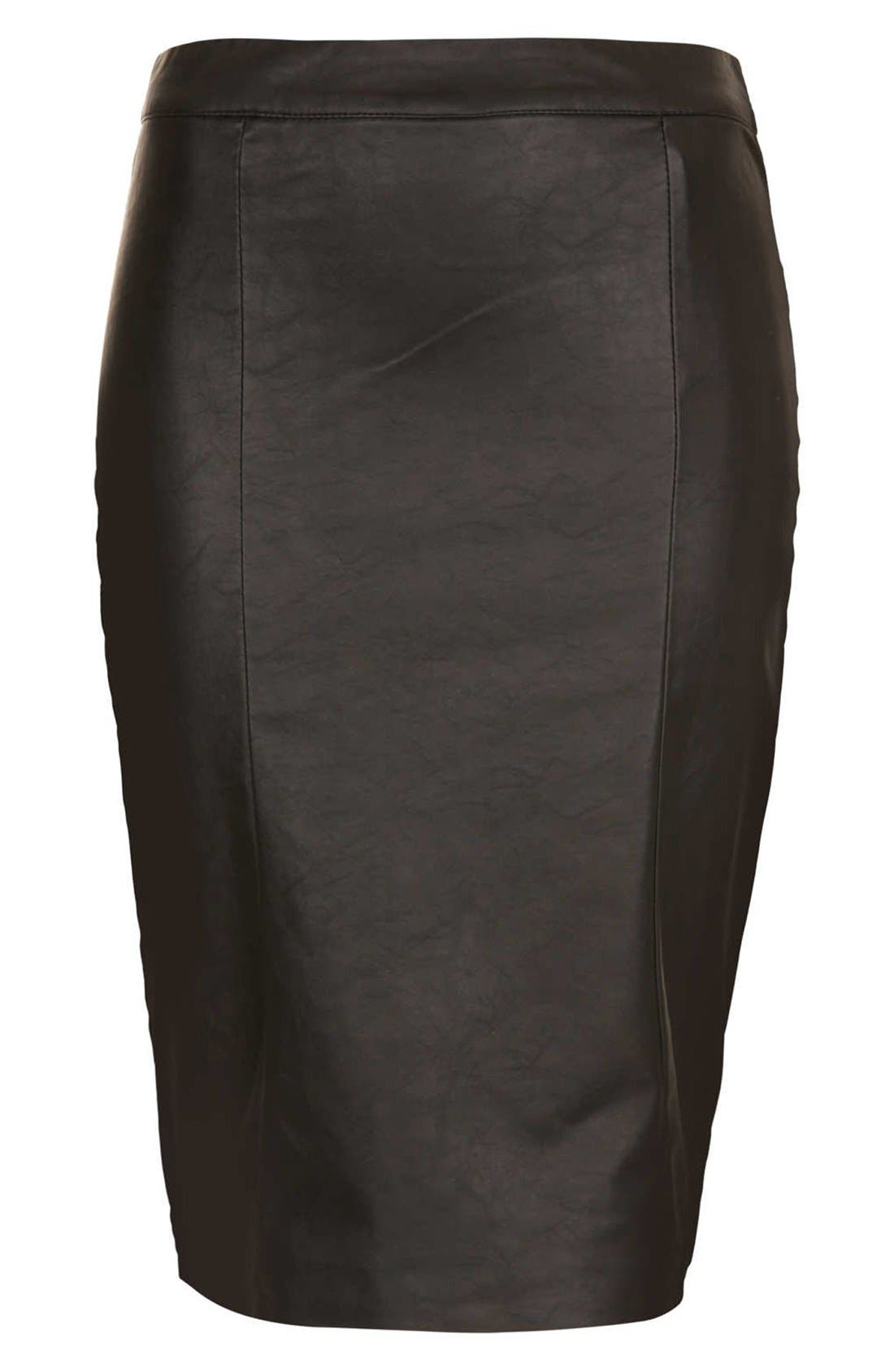 Alternate Image 3  - Topshop Faux Leather Pencil Skirt