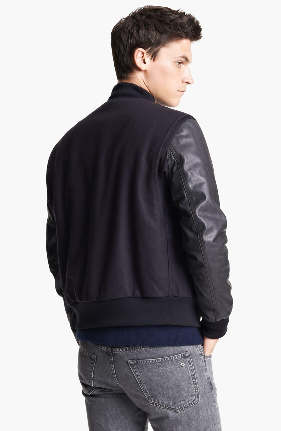 Alternate Image 2  - rag & bone 'Bastion' Baseball Jacket with Leather Sleeves