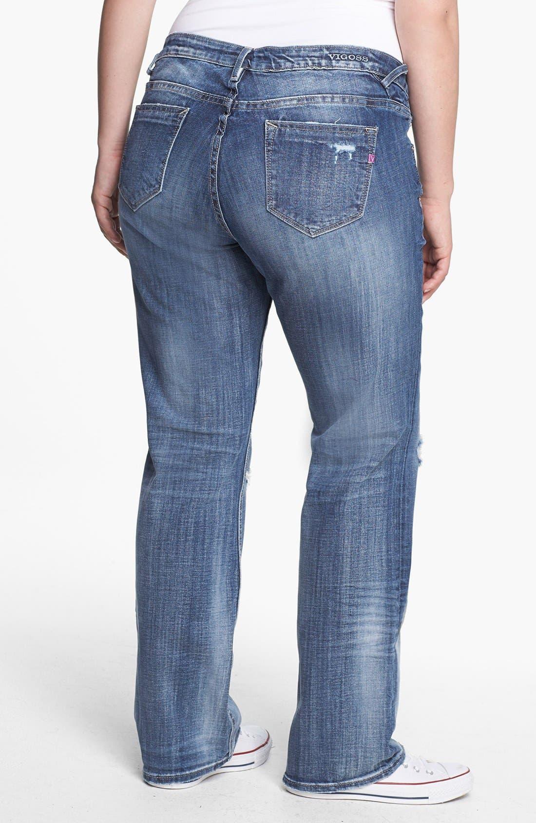 Alternate Image 2  - Vigoss Destroyed Straight Leg Jeans (Juniors Plus)