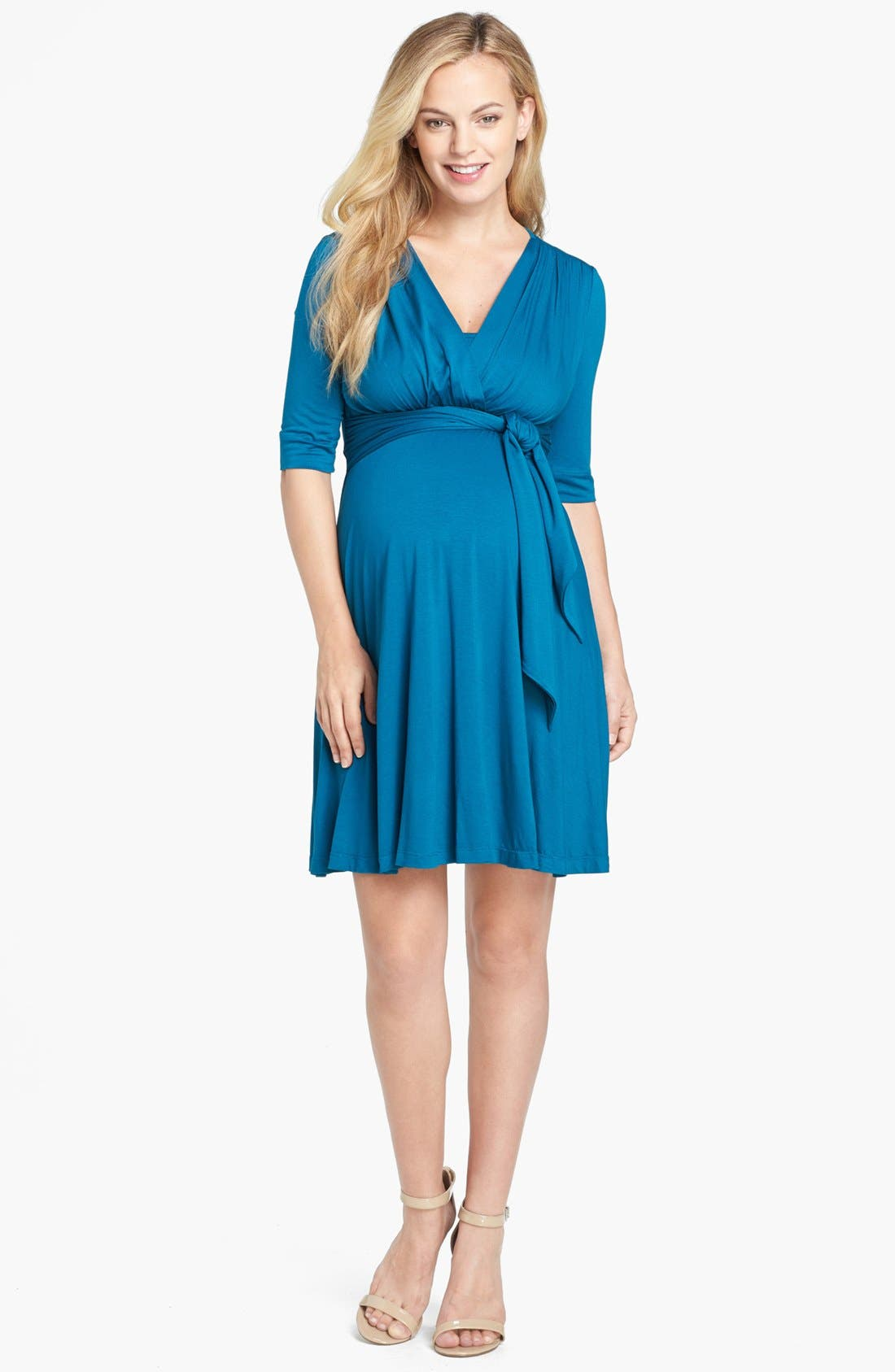 Main Image - Maternal America Maternity Tie Front Dress