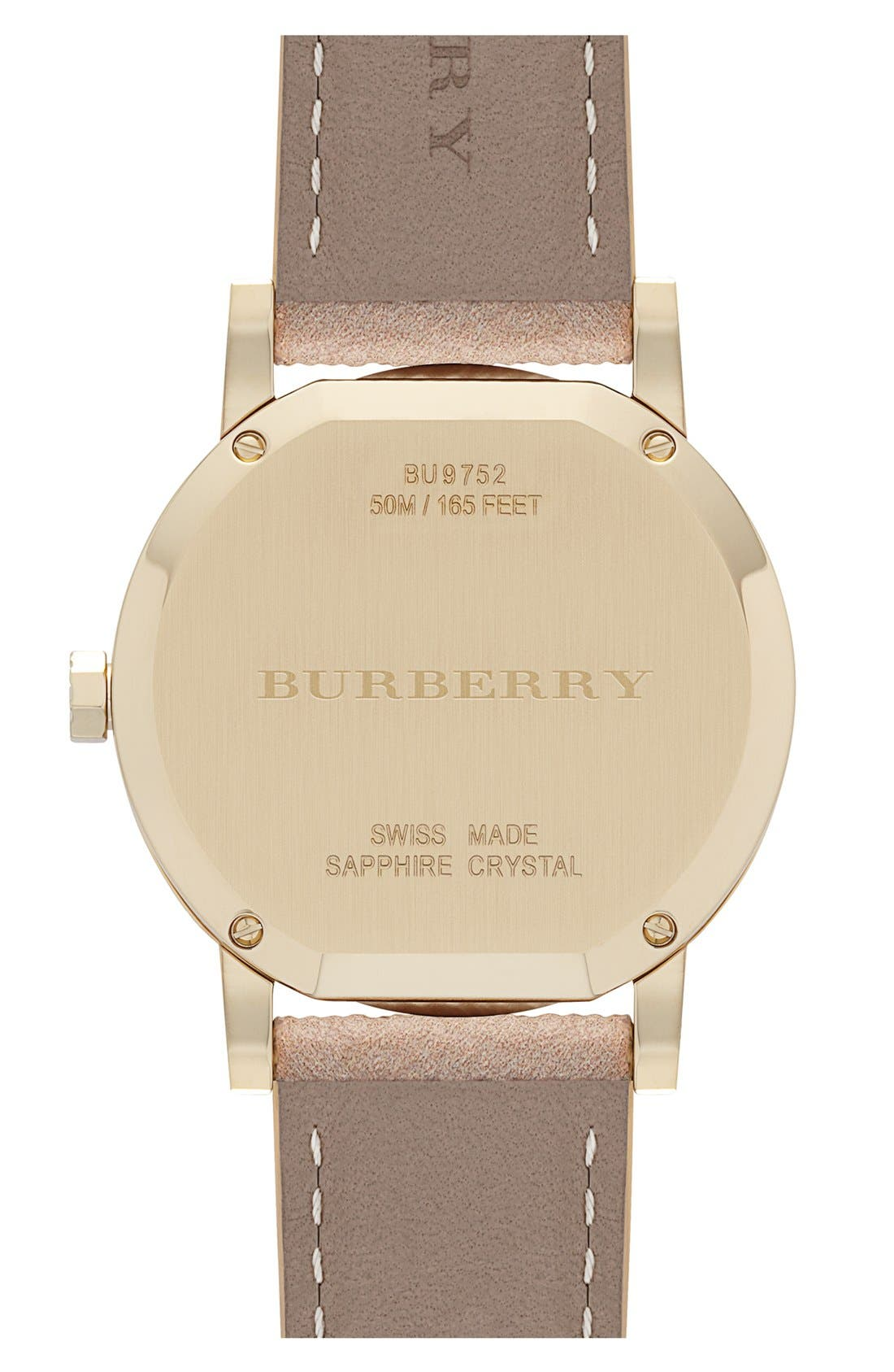 Alternate Image 4  - Burberry Round Chronograph Leather Strap Watch, 38mm