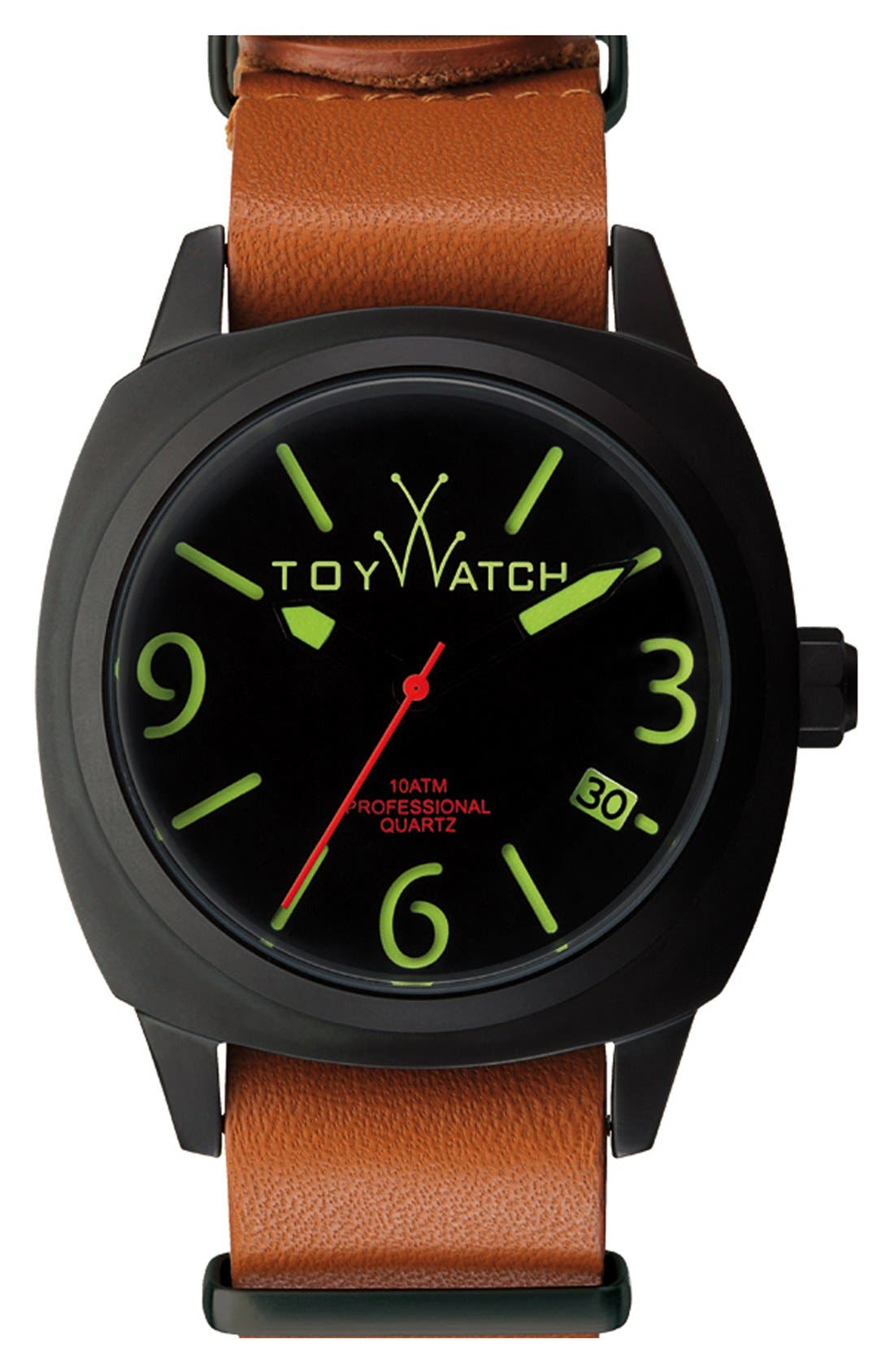 Alternate Image 1 Selected - TOYWATCH 'Icon' Leather Strap Watch, 43mm