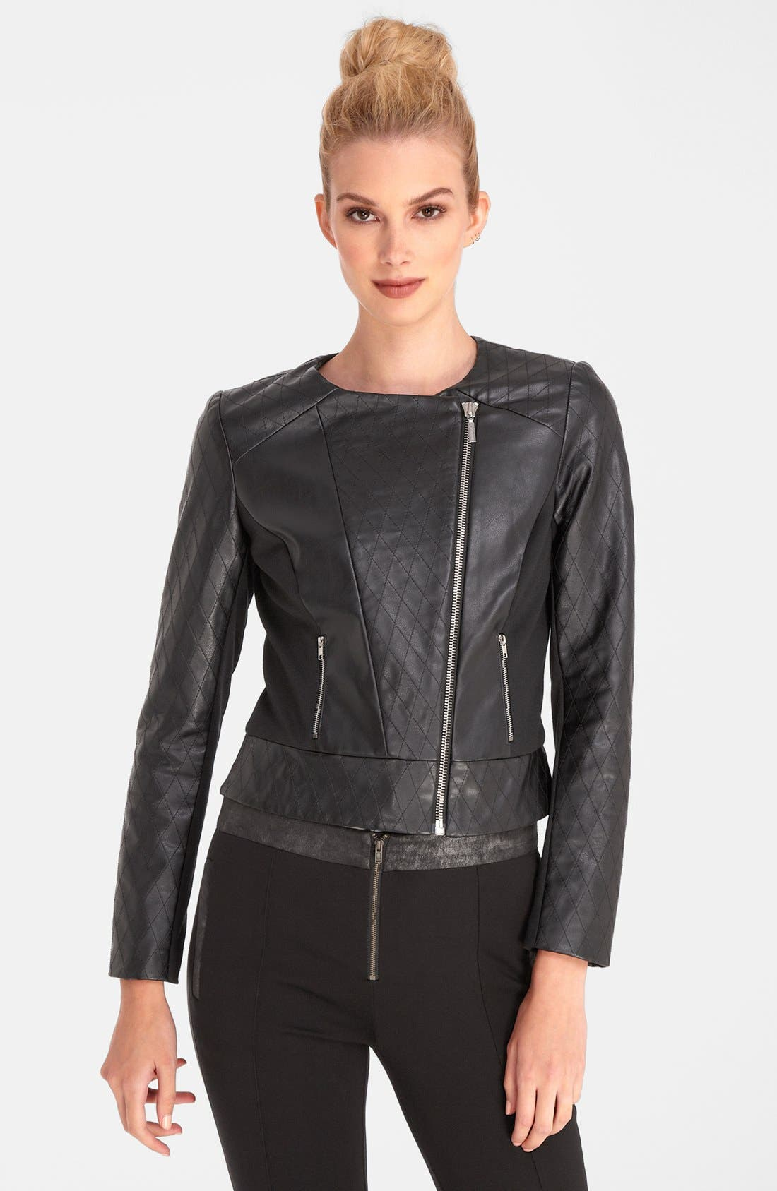 Main Image - Catherine Catherine Malandrino Quilted Faux Leather Bomber Jacket