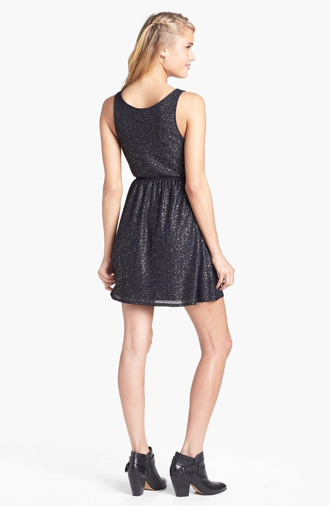 Alternate Image 2  - dee elle Textured Metallic Skater Dress (Juniors)