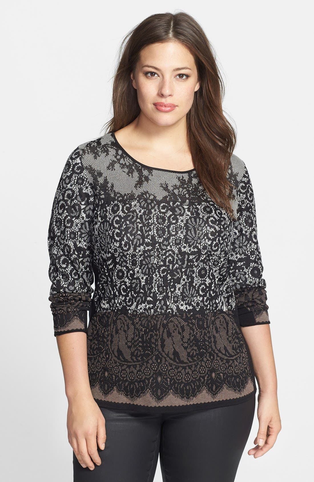 Alternate Image 1 Selected - NIC + ZOE Ombré Lace Pattern Top (Plus Size)