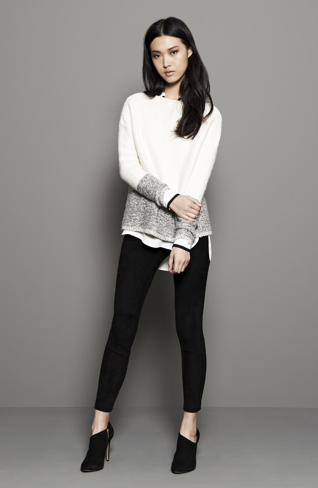 Main Image - Vince Sweater, Silk Blouse & Suede Leggings
