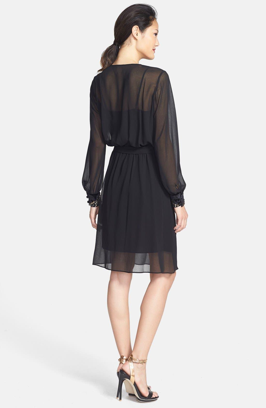 Alternate Image 2  - Donna Morgan Embellished Cuffs Faux Wrap Chiffon Dress