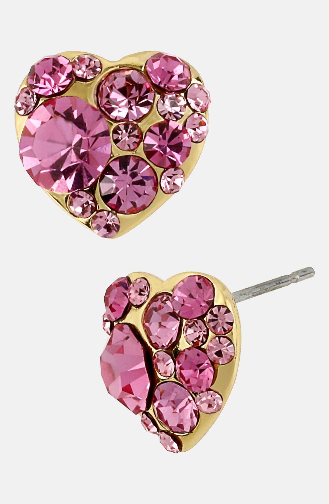 Alternate Image 1 Selected - Betsey Johnson 'Iconic Pinkalicious' Heart Stud Earrings