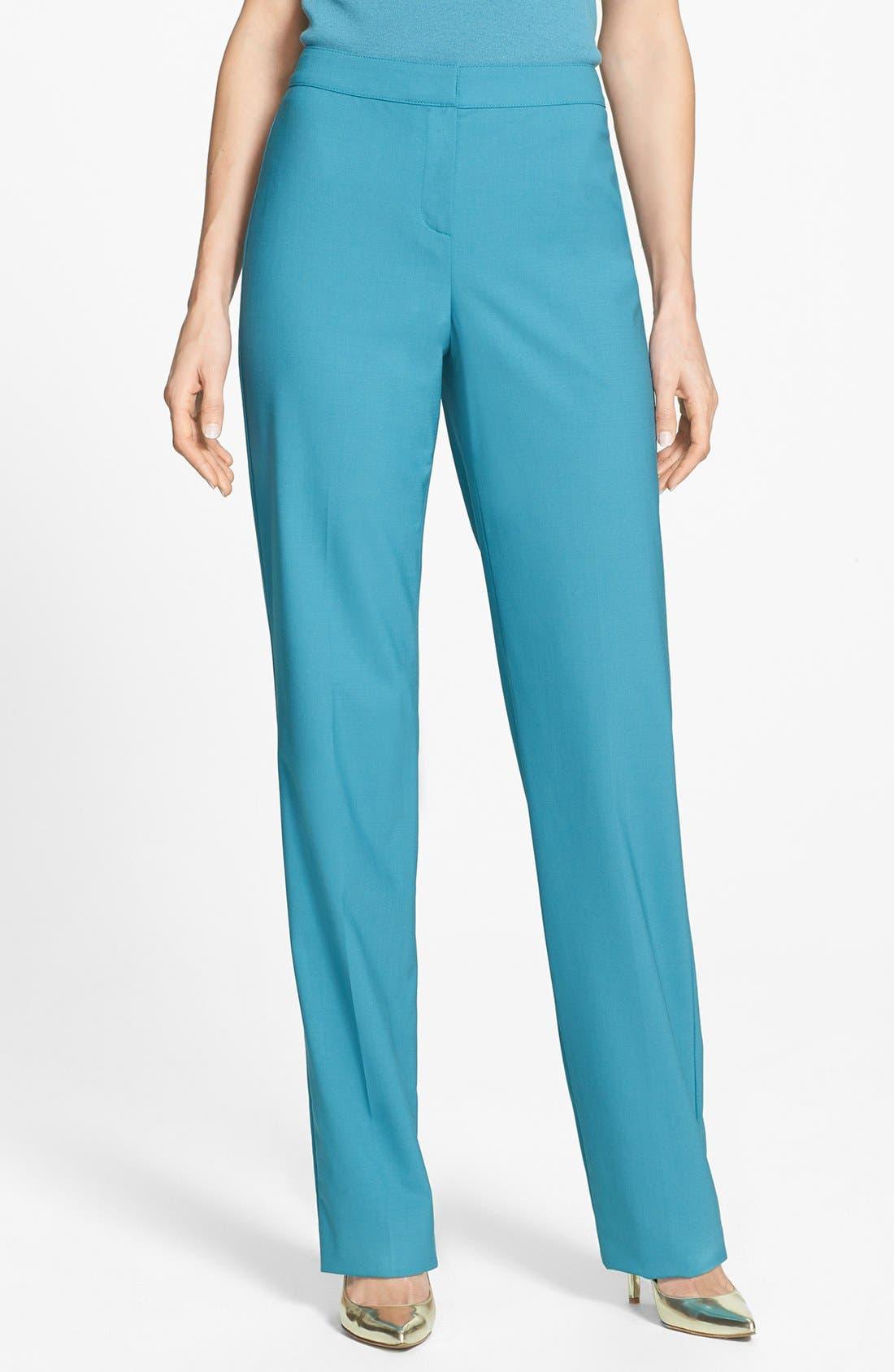 Main Image - St. John Collection 'Diana' Straight Leg Tropical Wool Pants