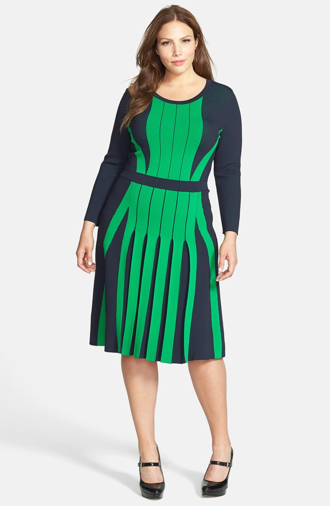 Main Image - MICHAEL Michael Kors Colorblock Pleated Fit & Flare Sweater Dress (Plus Size)
