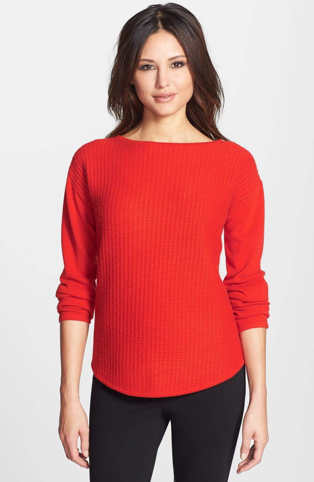 Alternate Image 1 Selected - Nordstrom Collection Textured Stitch Cashmere Boatneck Sweater