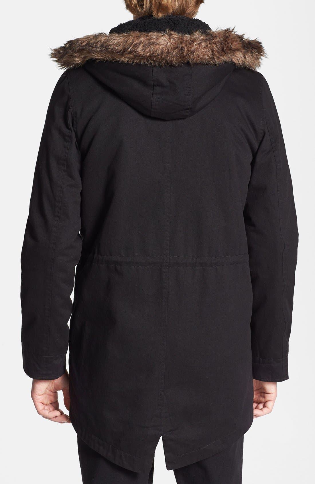 Alternate Image 2  - Topman Fishtail Parka with Detachable Faux Fur Trimmed Hood