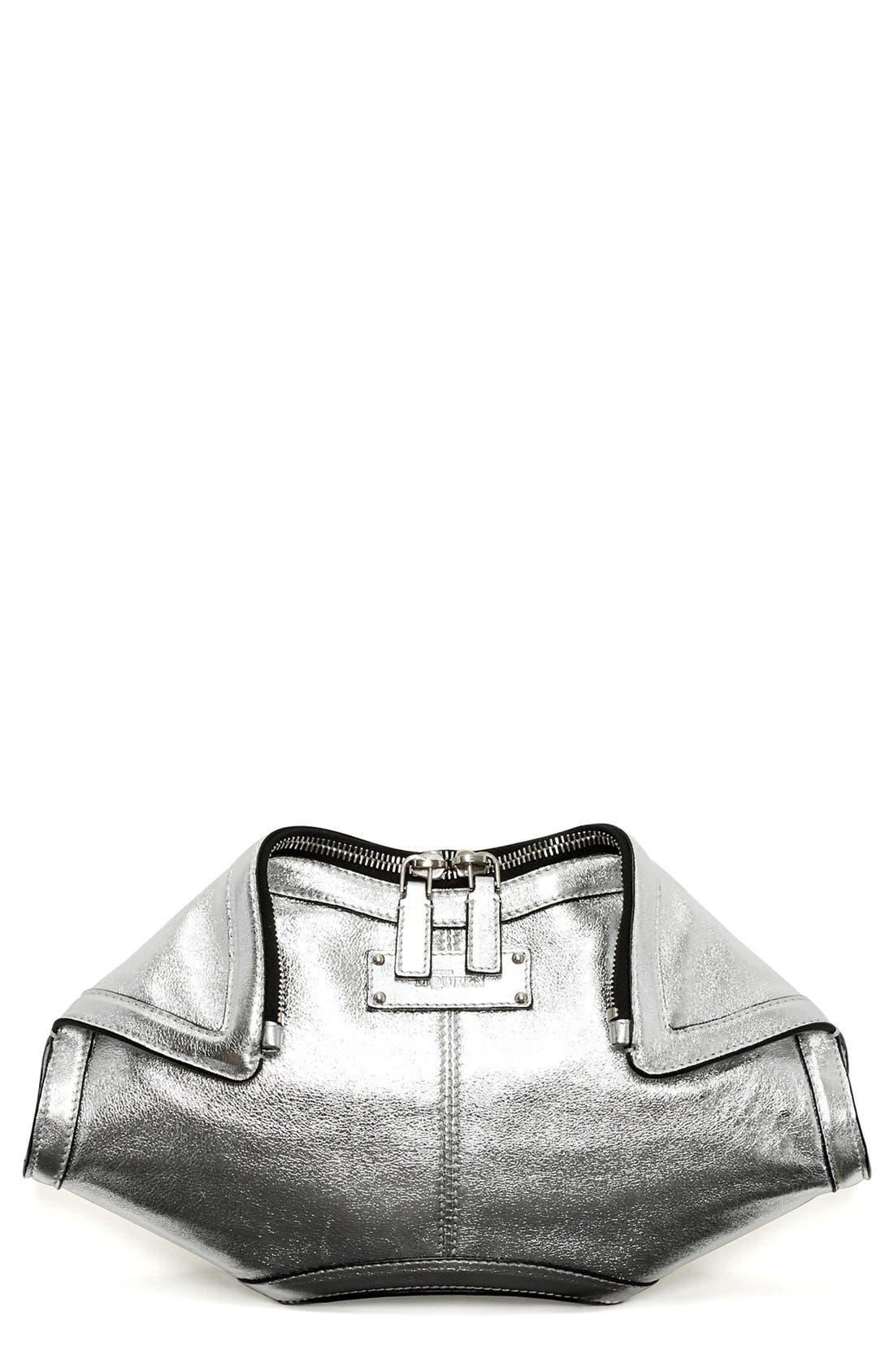 Main Image - Alexander McQueen 'De Manta - Small' Metallic Clutch