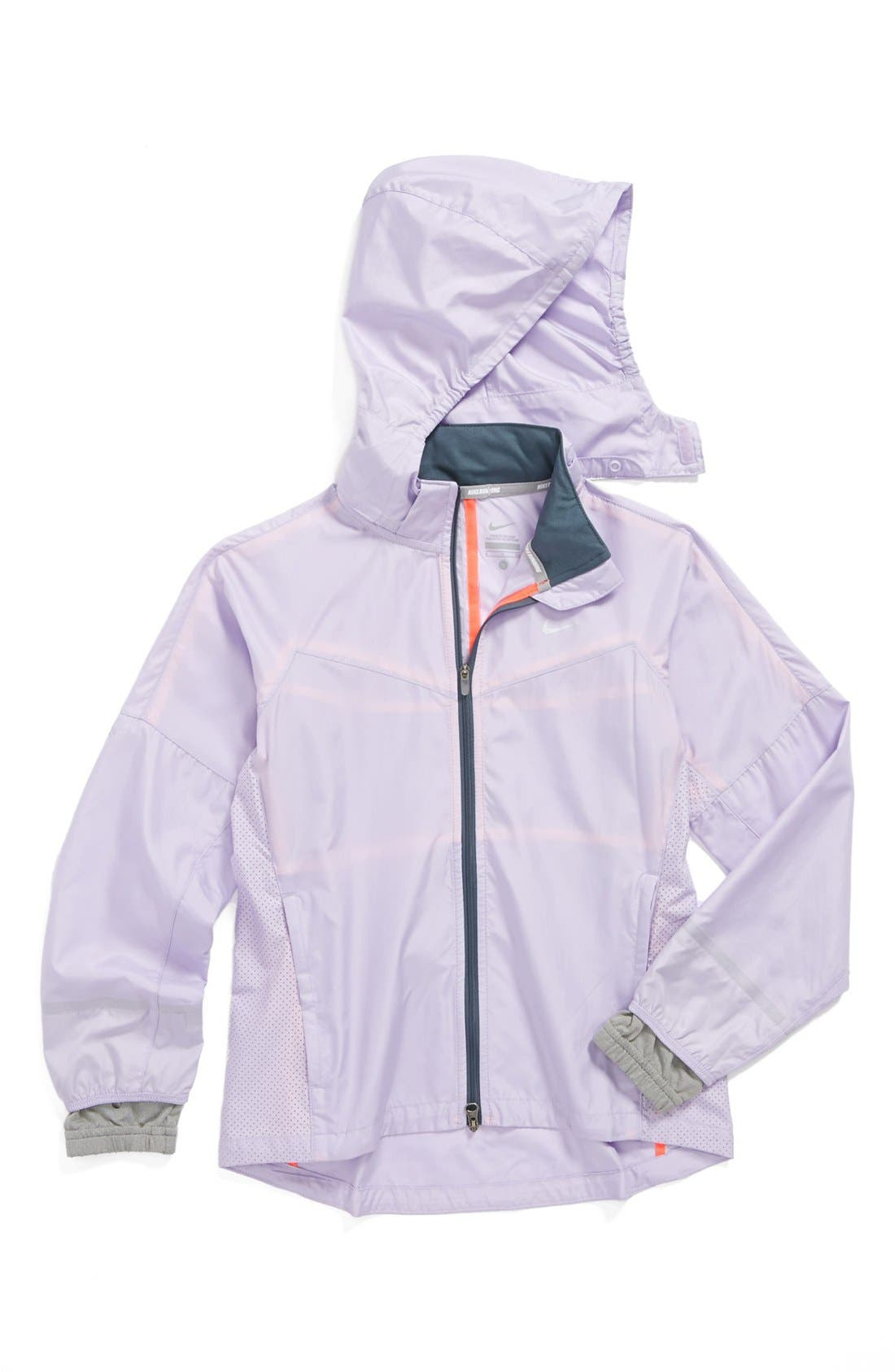 Alternate Image 1 Selected - Nike 'Vapor' Running Jacket (Little Girls & Big Girls)