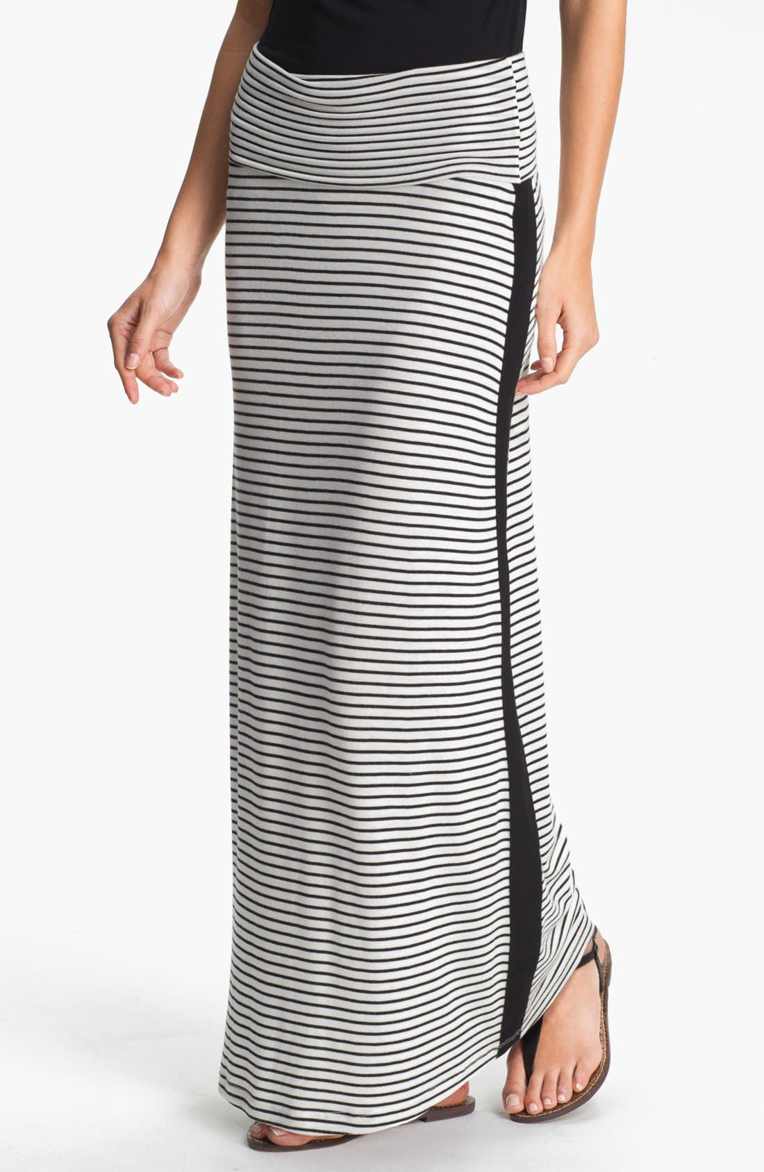 Alternate Image 1 Selected - Everleigh Tuxedo Stripe Maxi Skirt (Petite)