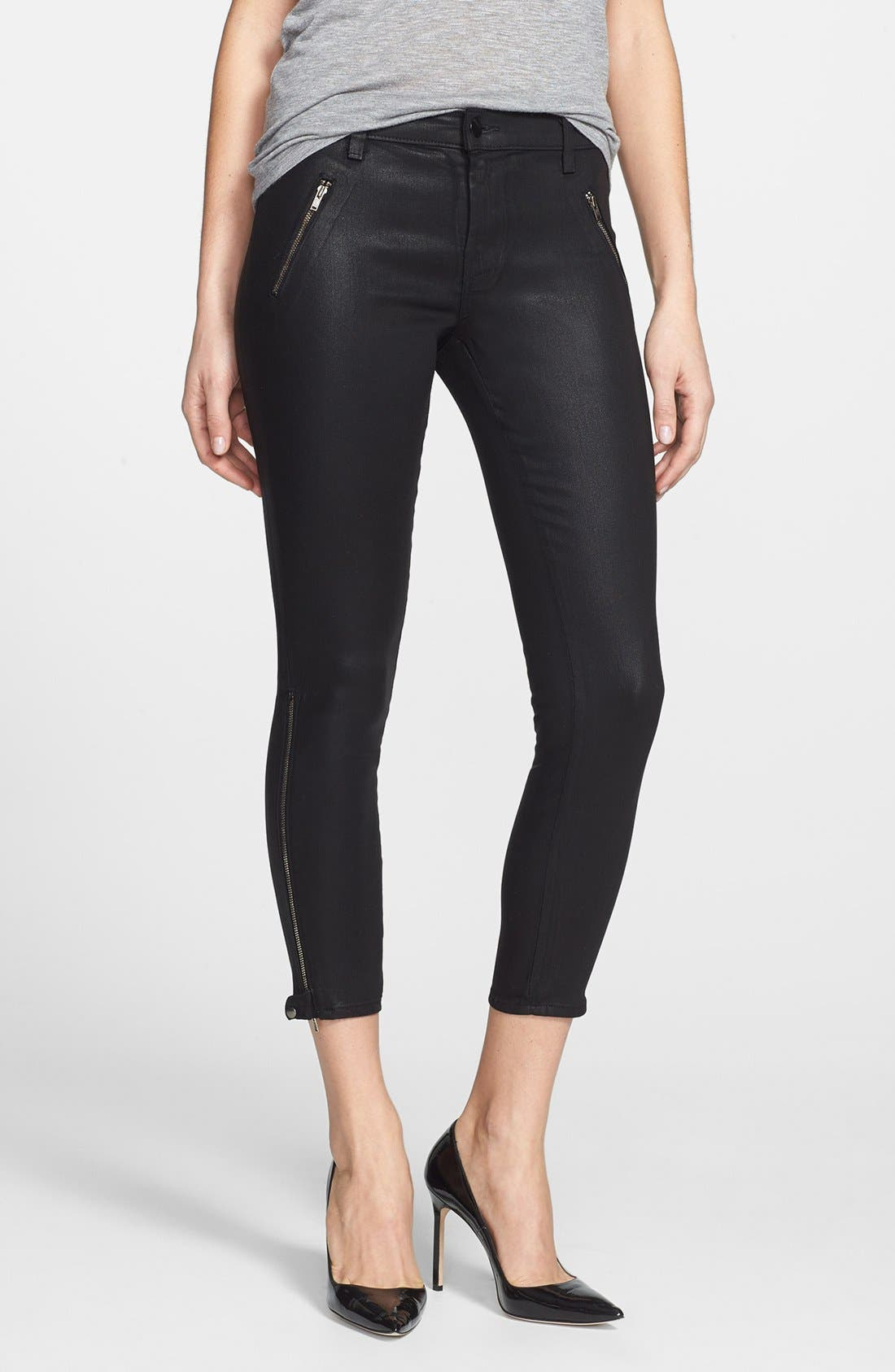 Alternate Image 1 Selected - J Brand '1446 Carey' Moto Skinny Crop Pants (Lacquered Black)