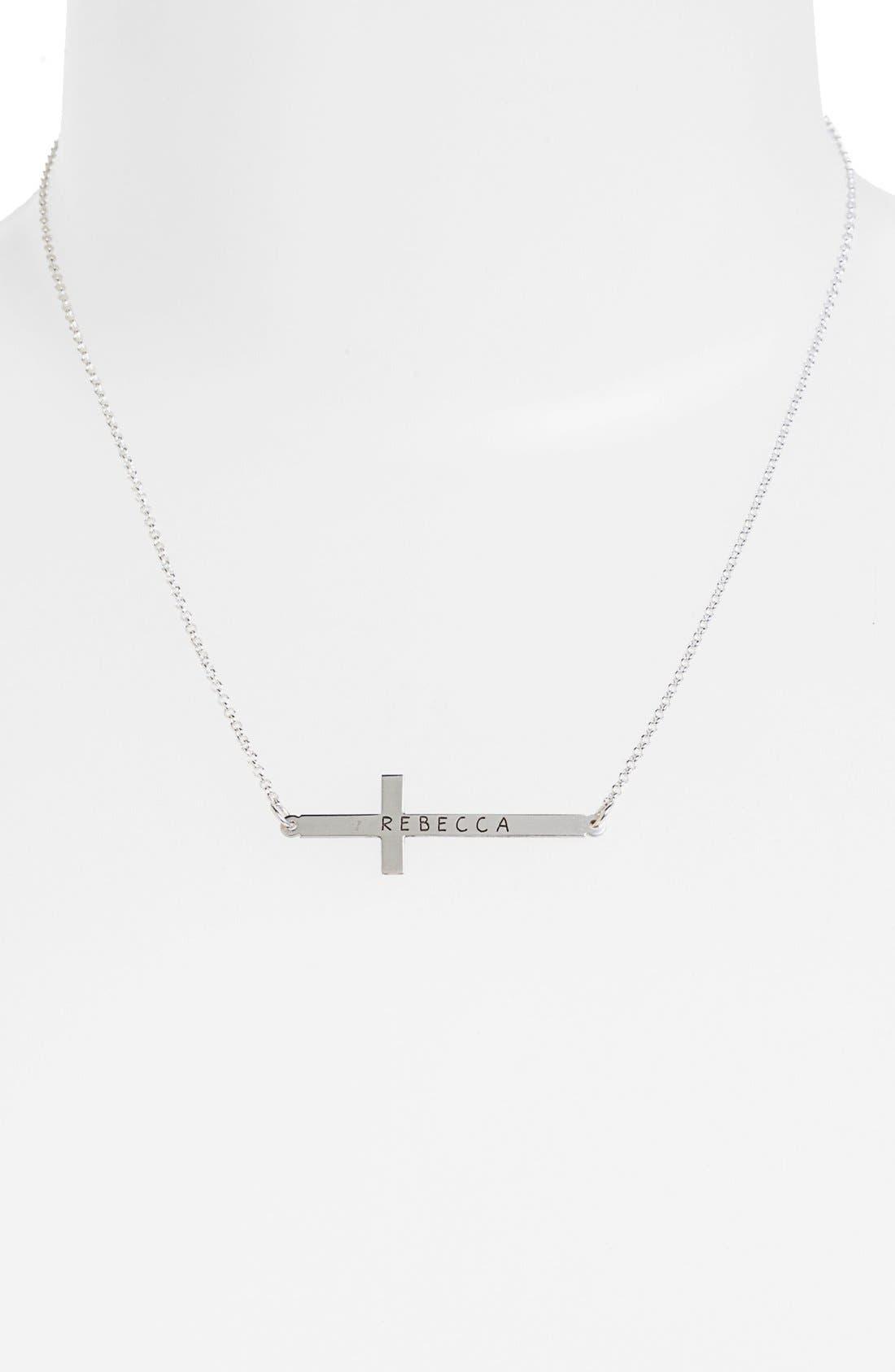 Alternate Image 2  - Argento Vivo Personalized Sideway Cross Monogram Necklace (Nordstrom Exclusive)