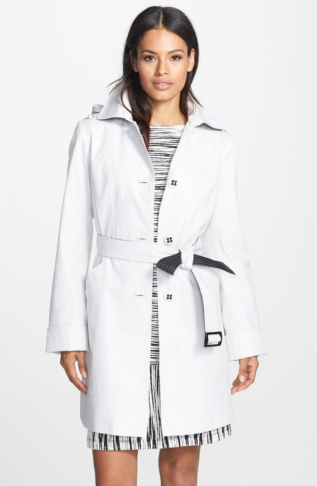 Main Image - Gallery Single Breasted Trench Coat with Detachable Hood (Online Only)