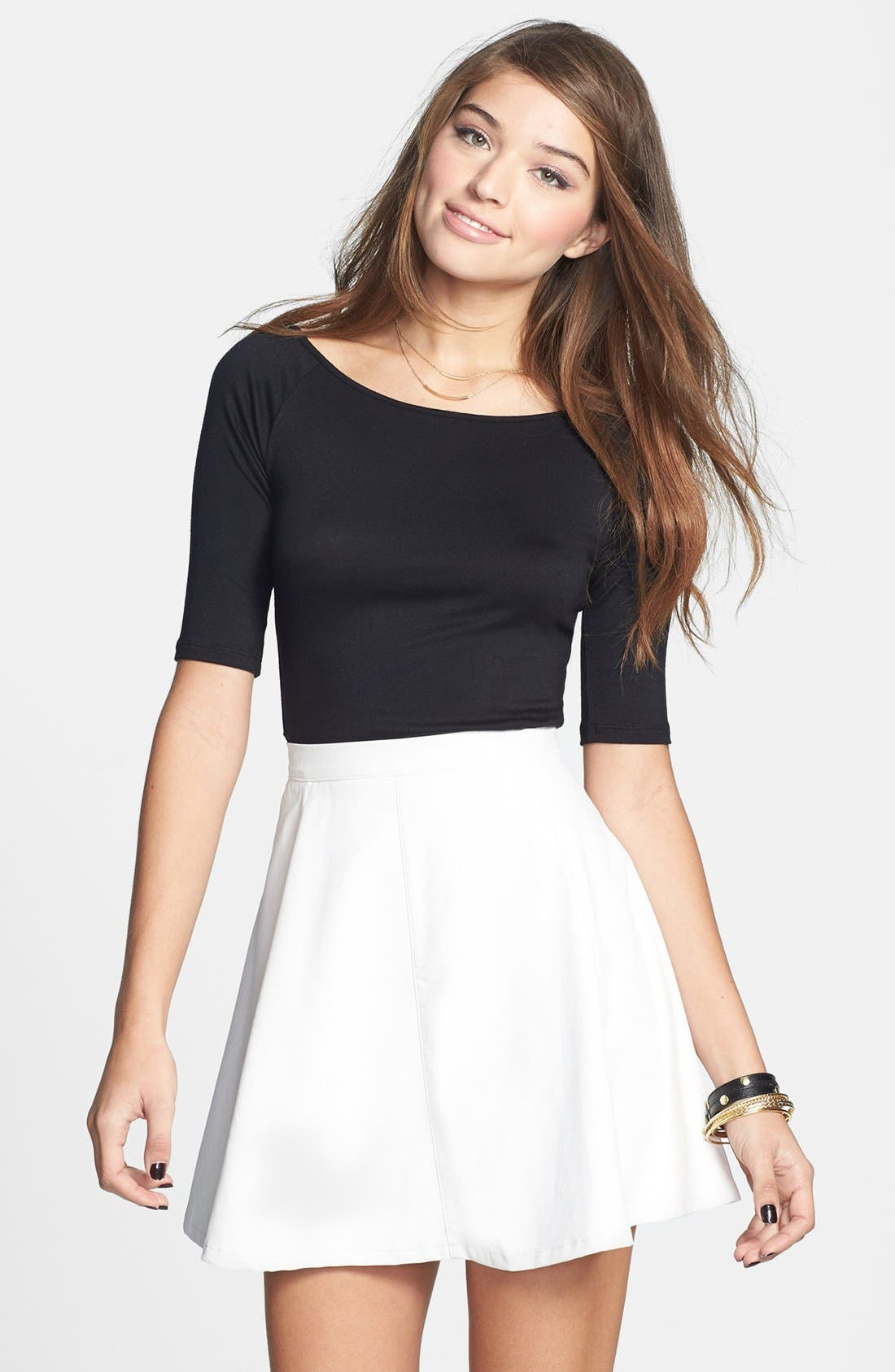 Main Image - Lily White Faux Leather Skater Skirt (Juniors) (Online Only)