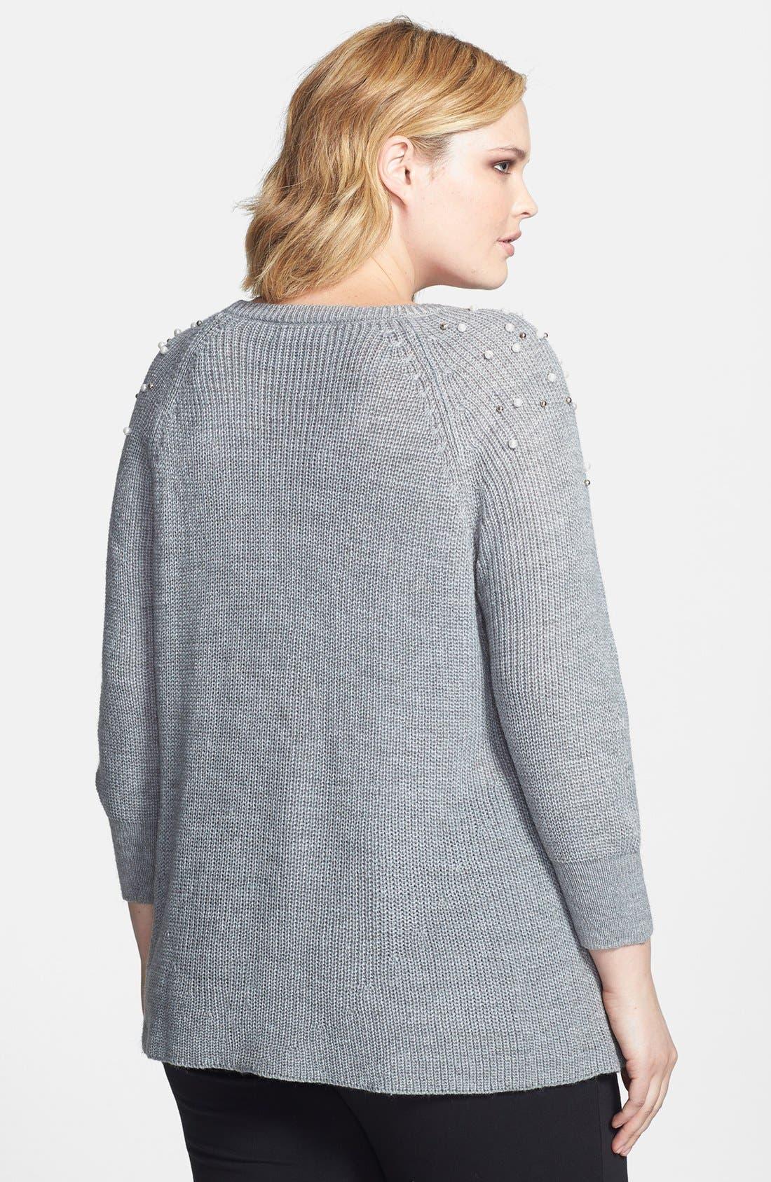 Alternate Image 2  - Jessica Simpson 'Eiffel' Embellished Sweater (Plus Size)
