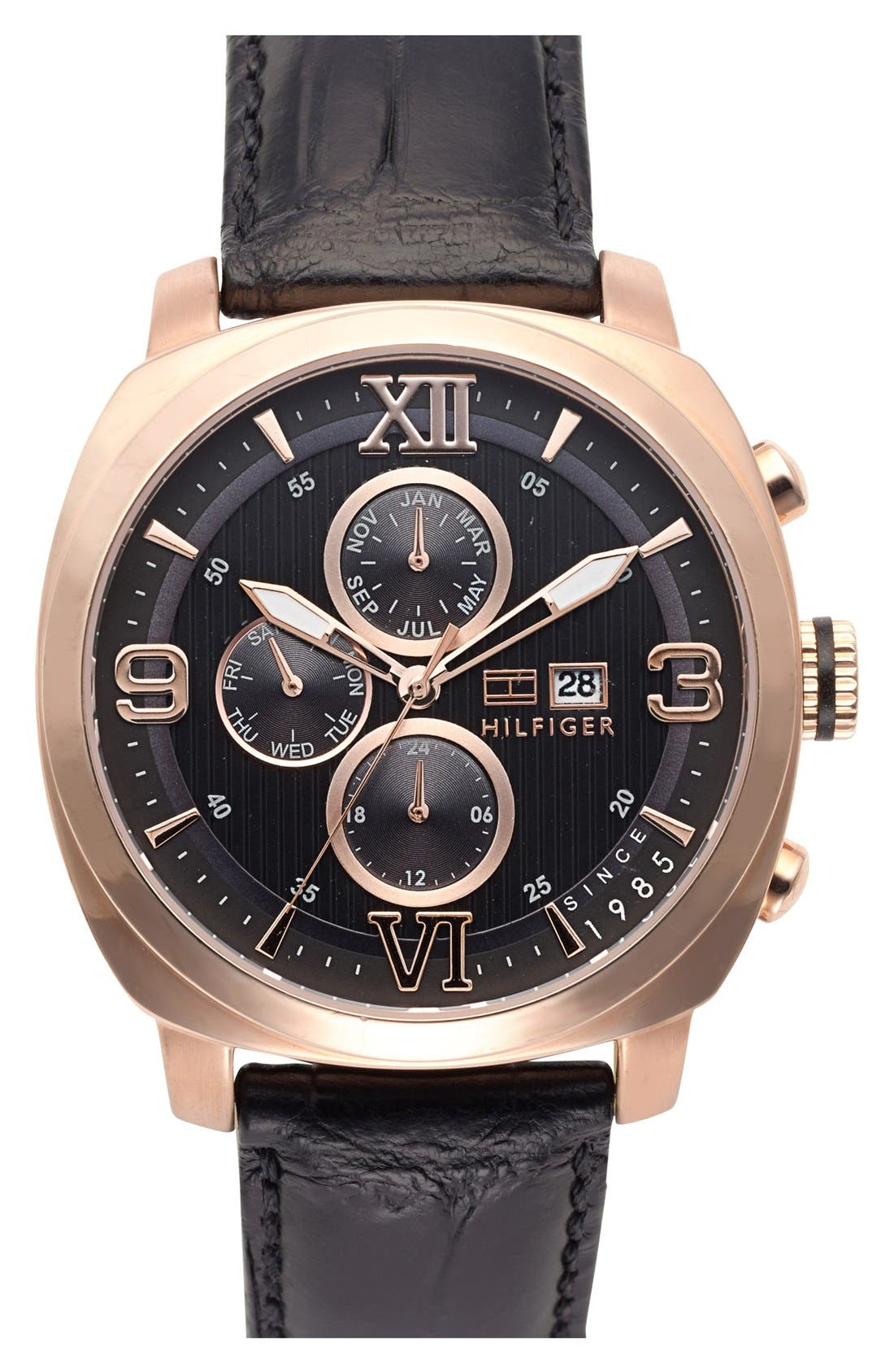 Main Image - Tommy Hilfiger Multifunction Leather Strap Watch, 44mm