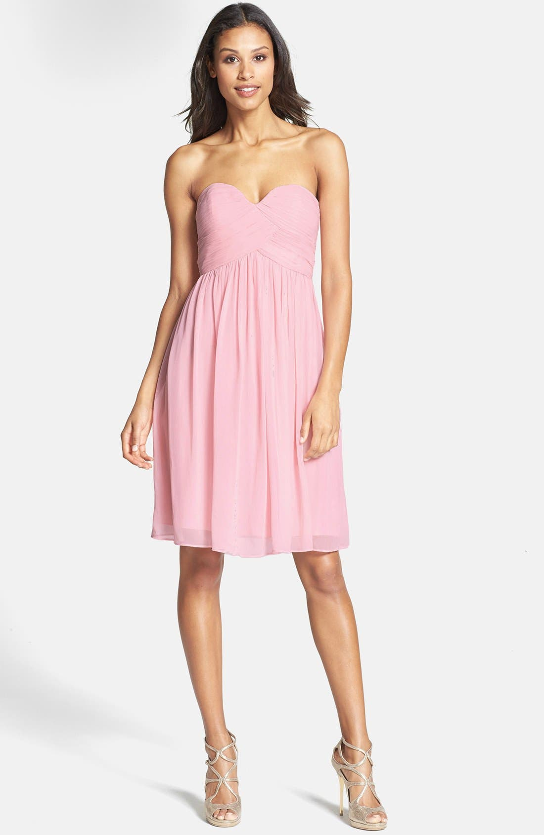 Alternate Image 1 Selected - Donna Morgan 'Morgan' Strapless Silk Chiffon Dress