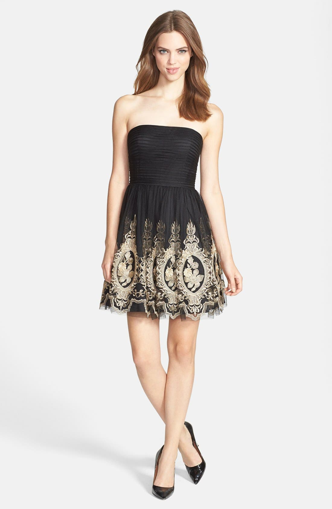 Alternate Image 2  - Aidan Mattox Metallic Embroidered Tulle Fit & Flare Dress