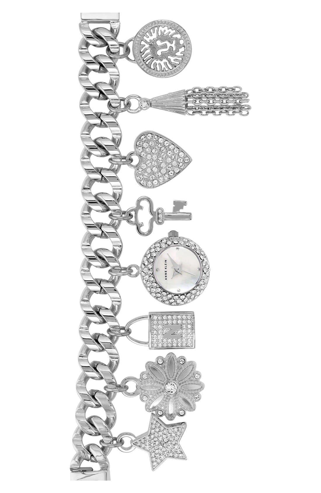 Main Image - Anne Klein Pavé Charm Bracelet Watch, 20mm (Nordstrom Exclusive)