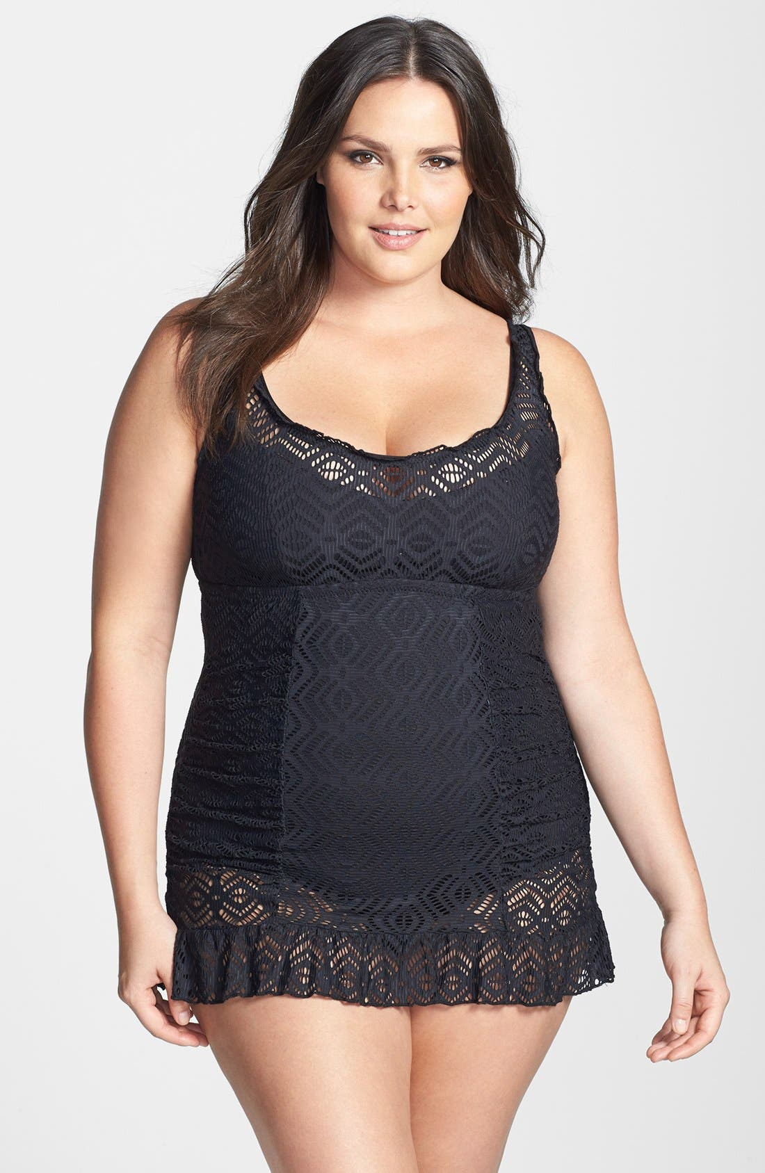Alternate Image 1 Selected - Becca. Etc. 'See It Through' Crochet Swimdress (Plus Size)