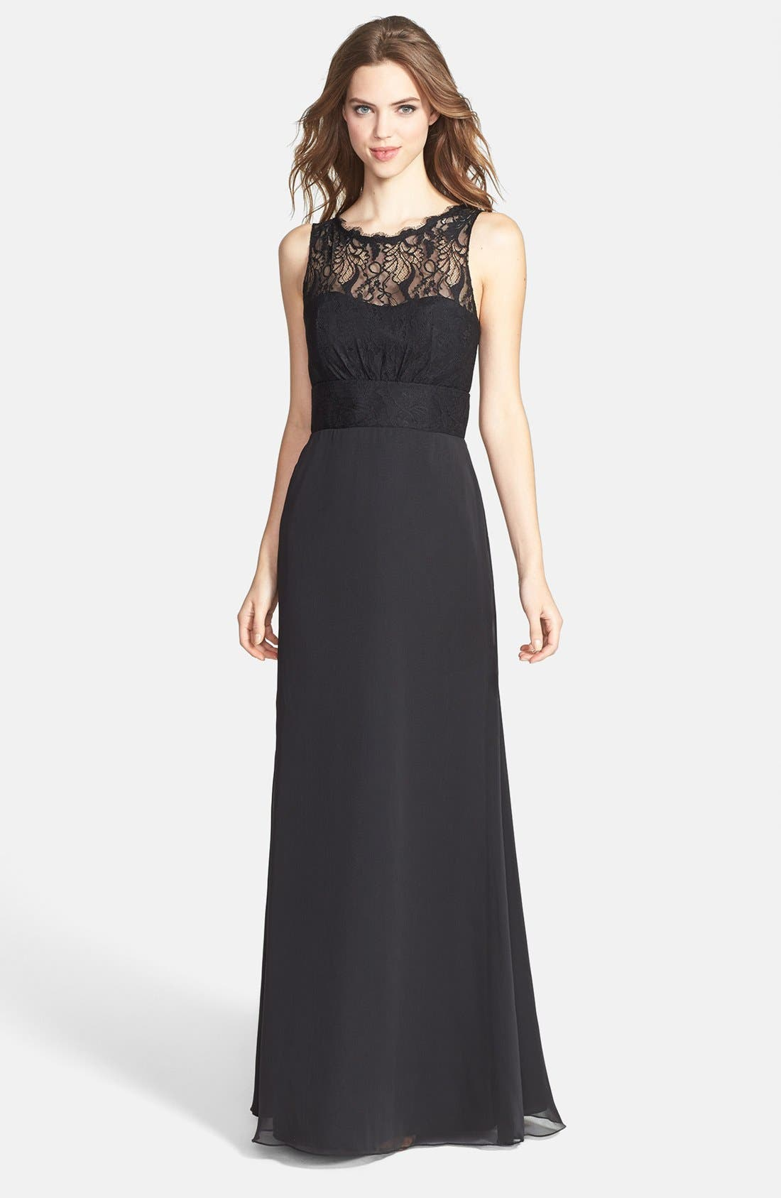 Alternate Image 1 Selected - Jim Hjelm Occasions Illusion Lace Bodice Chiffon Dress