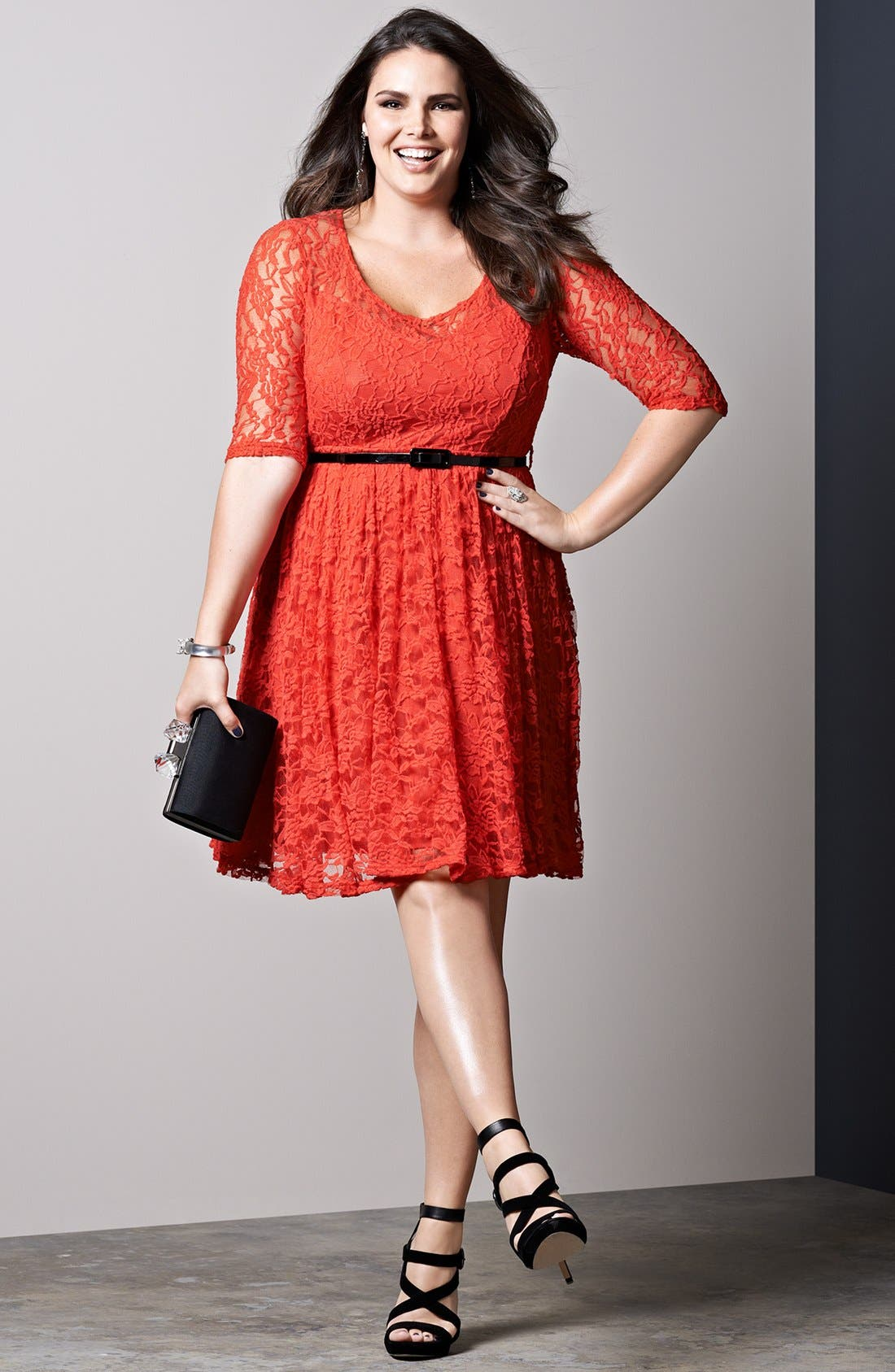 Alternate Image 4  - City Chic Belted Lace Fit & Flare Dress (Plus Size)