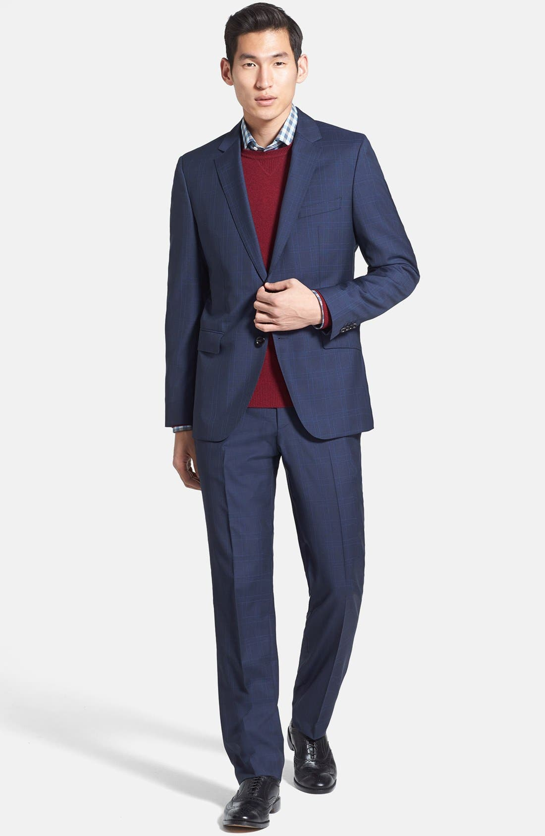 Alternate Image 1 Selected - BOSS HUGO BOSS 'James/Sharp' Trim Fit Windowpane Suit