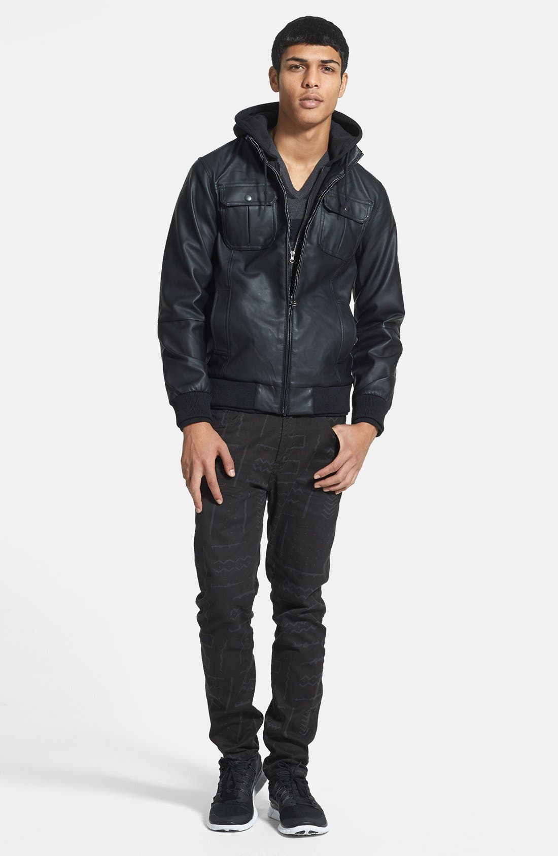 Alternate Image 3  - Obey 'Rapture' Hooded Faux Leather Bomber Jacket