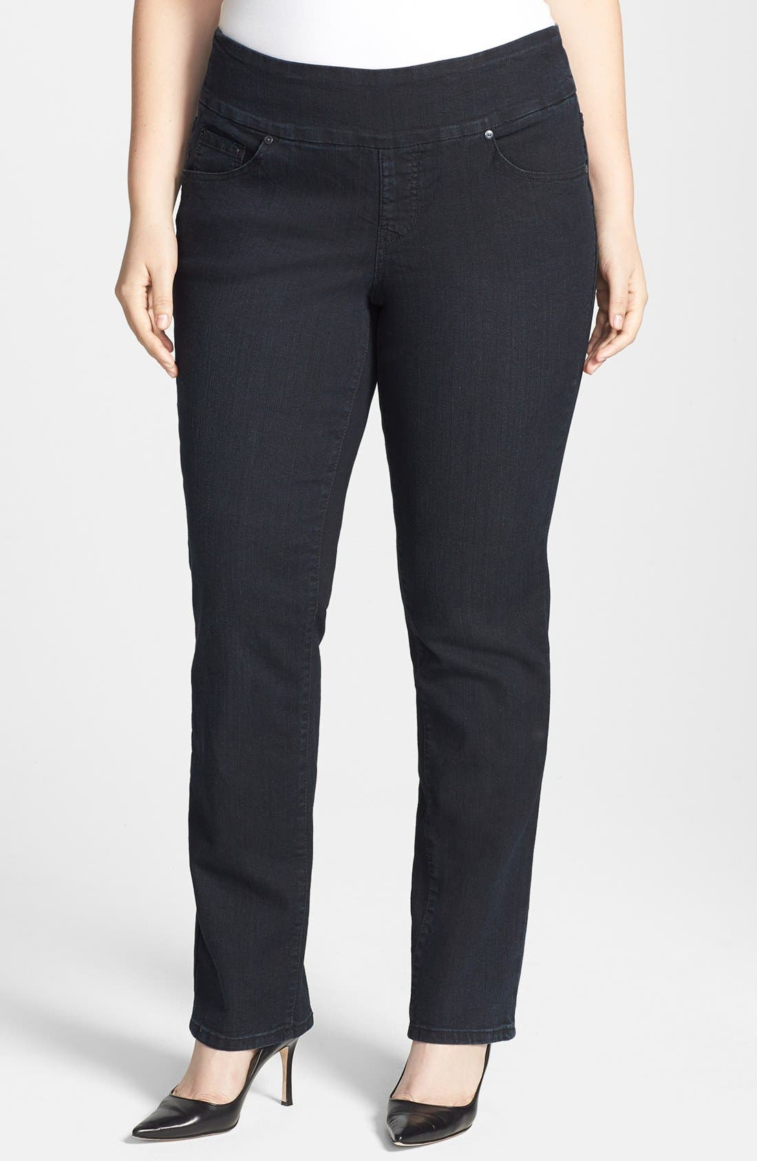 Alternate Image 1 Selected - Jag Jeans 'Mila' Embellished Back Pocket Pull-On Straight Leg Jeans (Plus Size)
