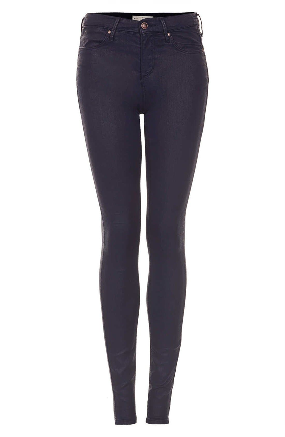 Alternate Image 3  - Topshop Moto 'Leigh' Coated High Rise Skinny Jeans (Navy Blue) (Short)