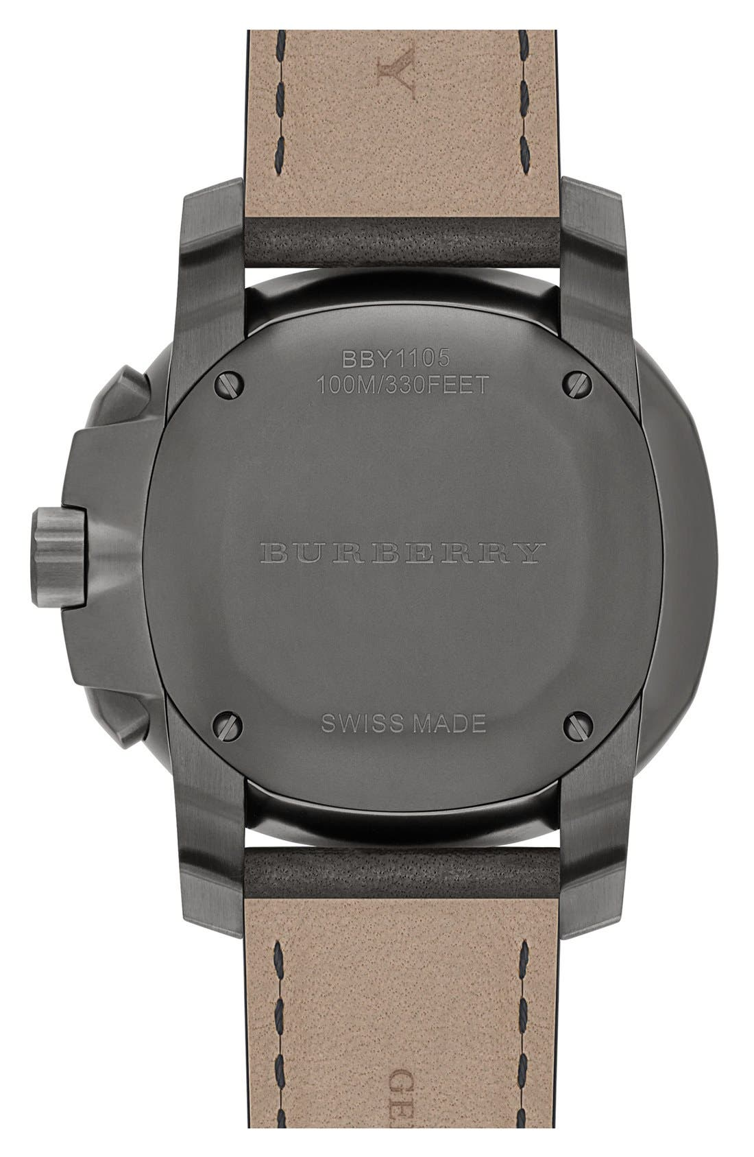 Alternate Image 3  - Burberry the Britain Chronograph Leather Strap Watch, 47mm