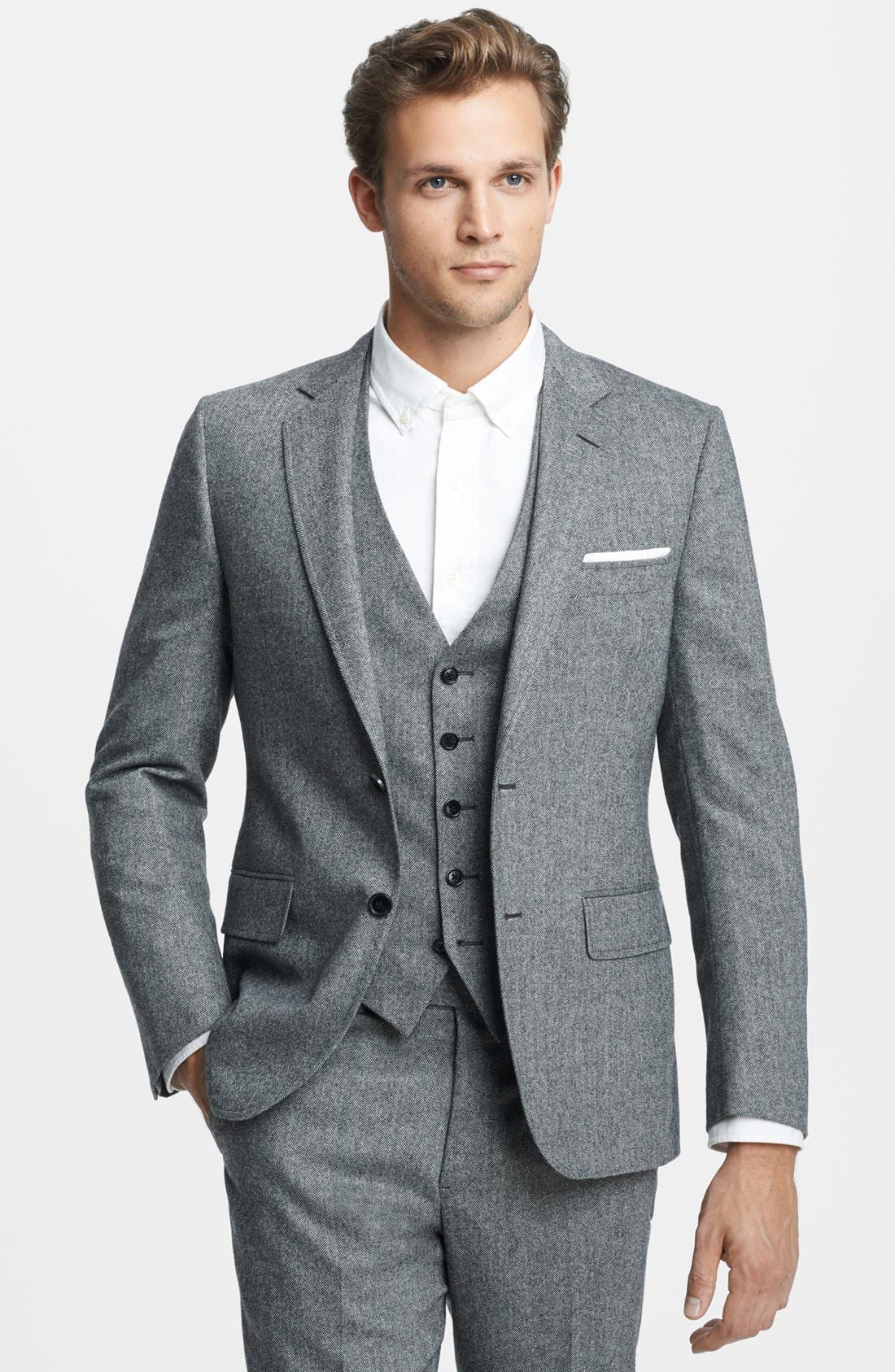 Alternate Image 4  - Billy Reid 'Ellerman' Herringbone Wool Blend Suit